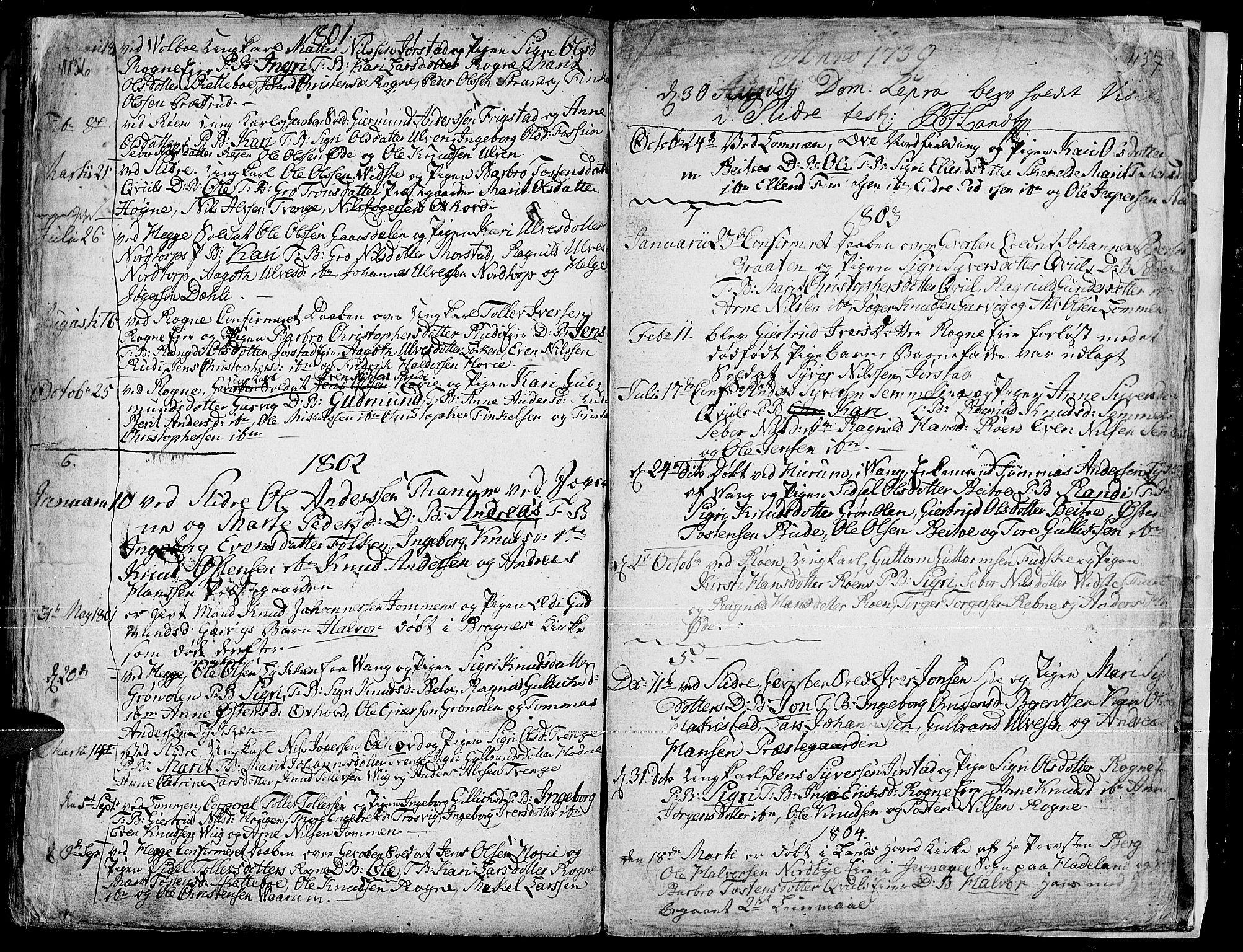 SAH, Slidre prestekontor, Ministerialbok nr. 1, 1724-1814, s. 1136-1137