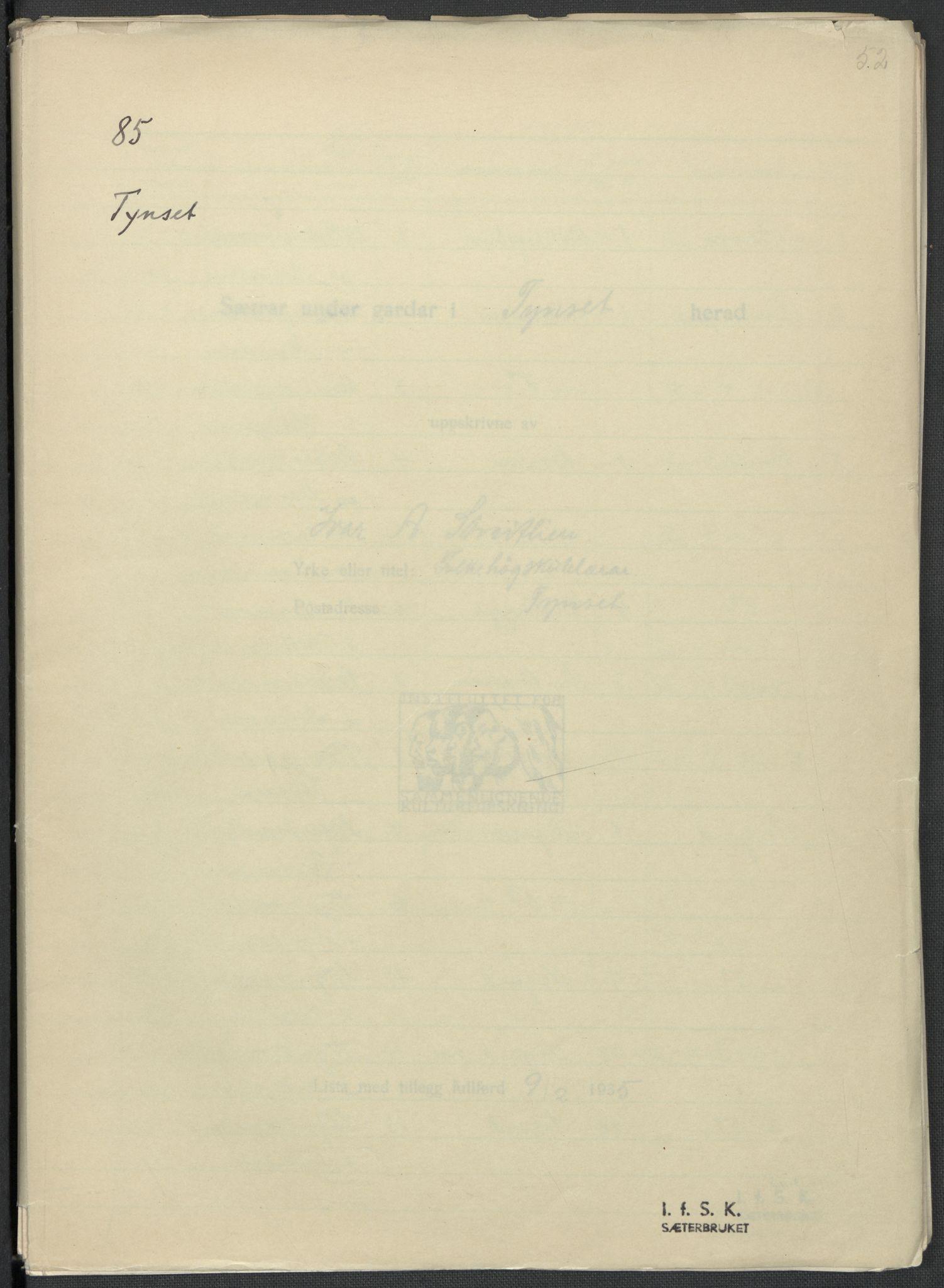 RA, Instituttet for sammenlignende kulturforskning, F/Fc/L0003: Eske B3:, 1933-1939, s. 52