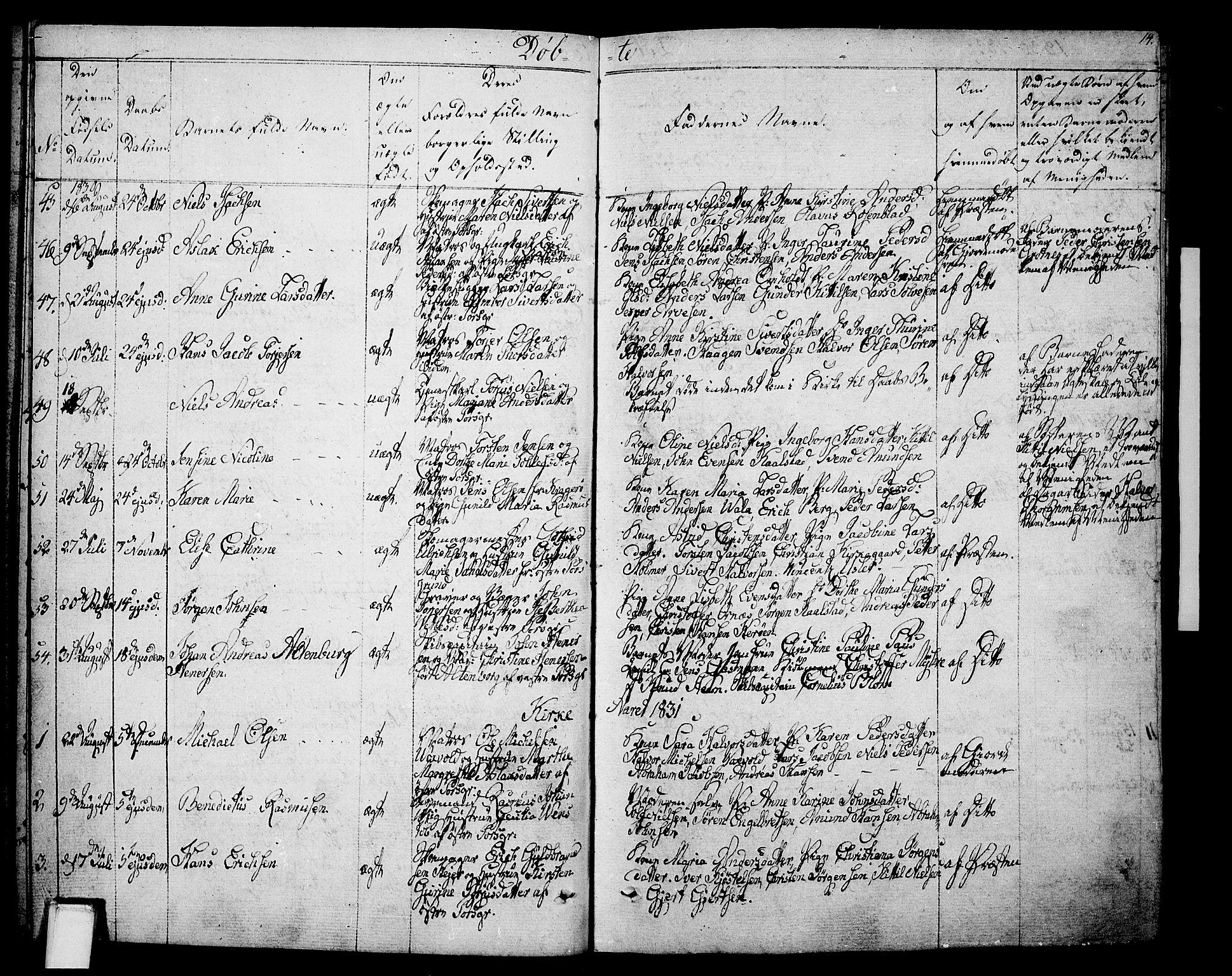 SAKO, Porsgrunn kirkebøker , F/Fa/L0005: Ministerialbok nr. 5, 1828-1840, s. 14