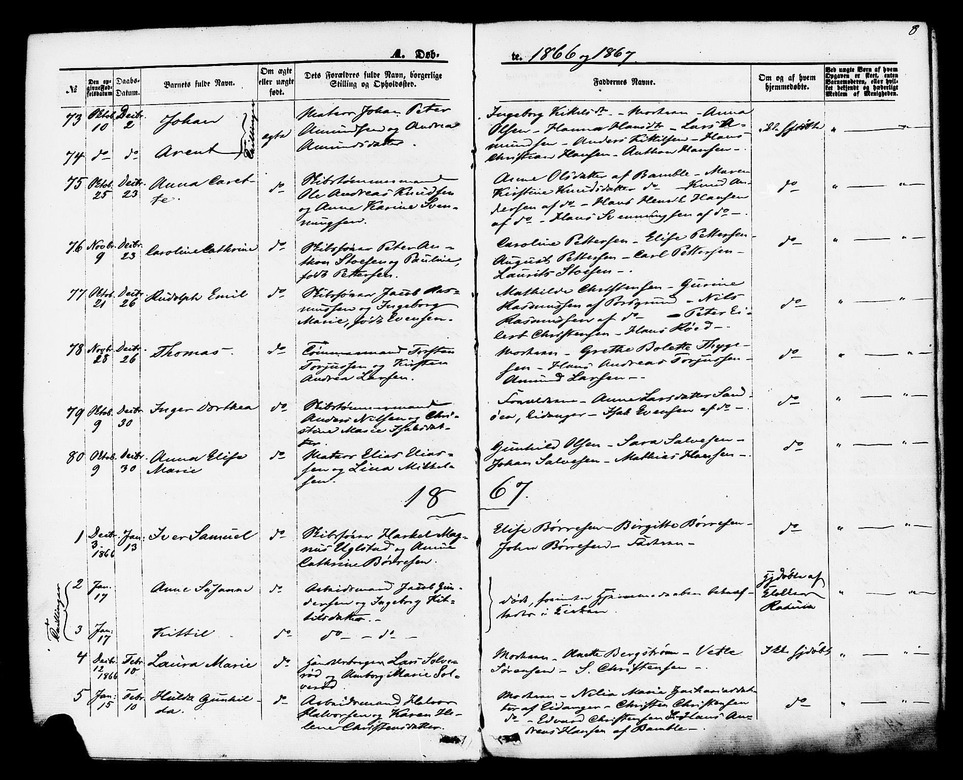 SAKO, Brevik kirkebøker, F/Fa/L0006: Ministerialbok nr. 6, 1866-1881, s. 8