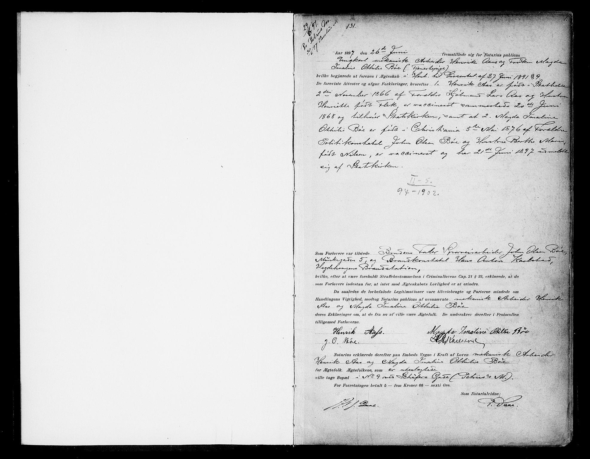 SAO, Oslo byfogd avd. I, L/Lb/Lbb/L0005: Notarialprotokoll, rekke II: Vigsler, 1897-1902, s. 1a