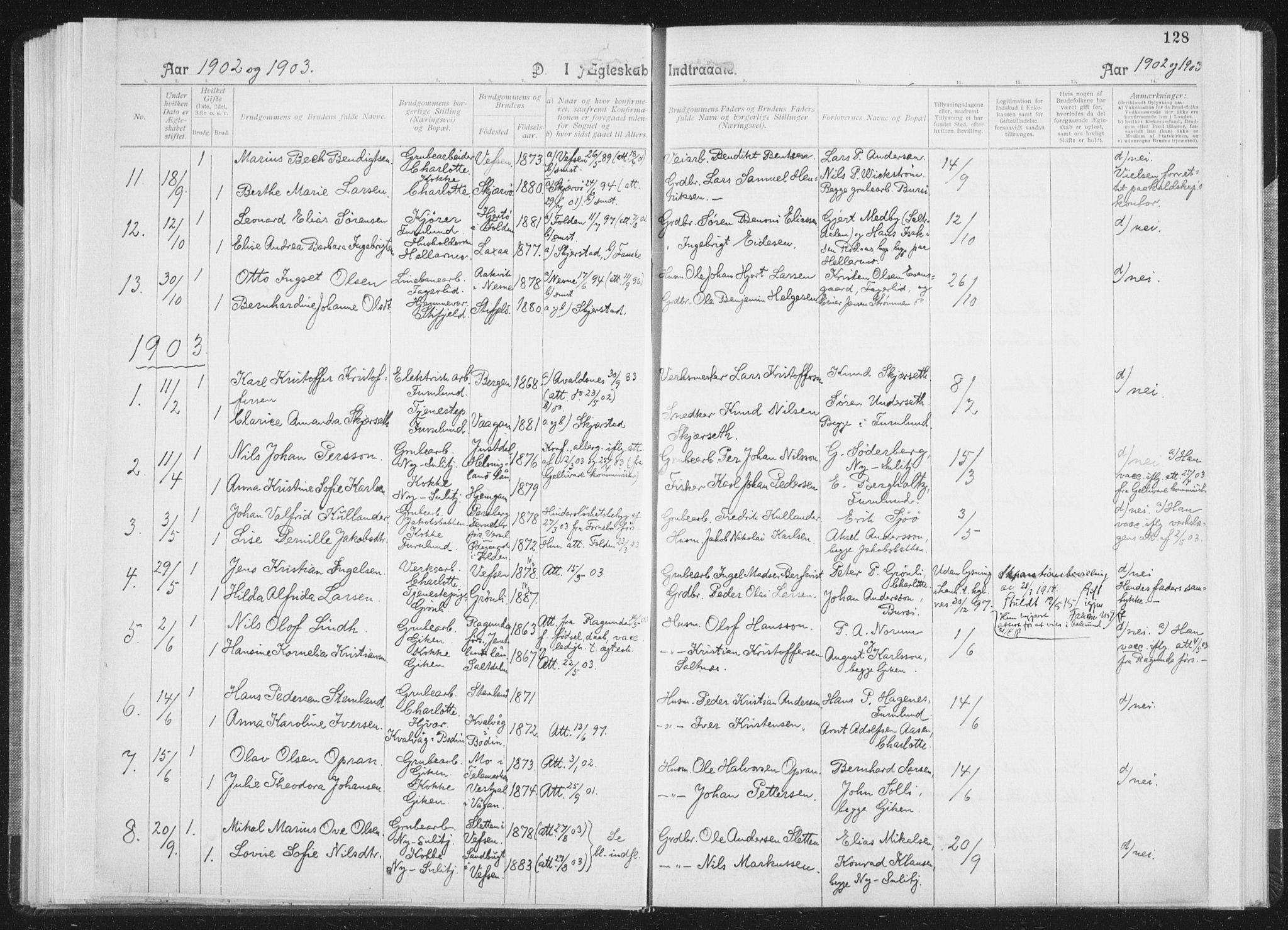 SAT, Ministerialprotokoller, klokkerbøker og fødselsregistre - Nordland, 850/L0711: Residerende kapellans bok nr. 850B01, 1902-1915, s. 128