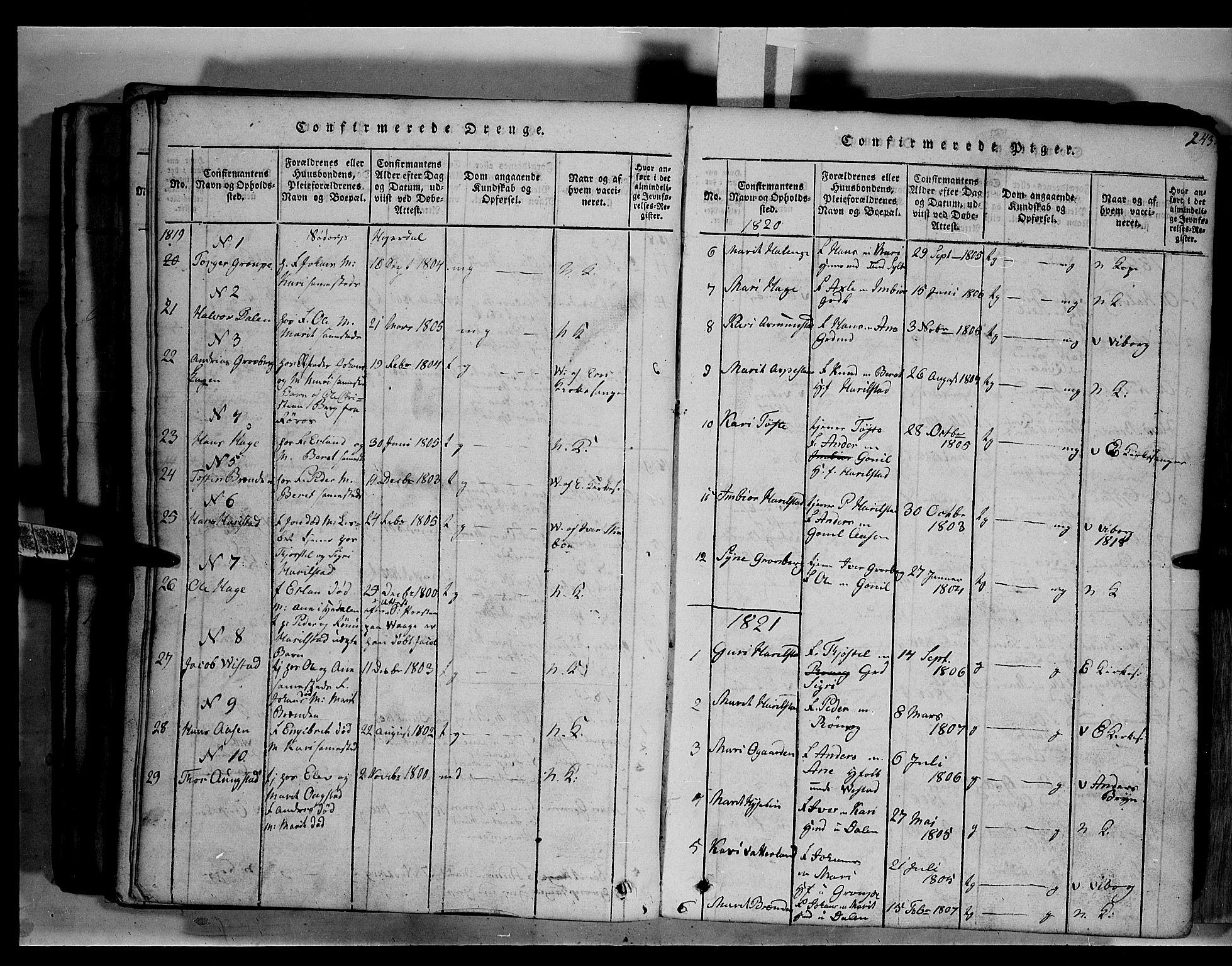 SAH, Fron prestekontor, H/Ha/Hab/L0003: Klokkerbok nr. 3, 1816-1850, s. 243