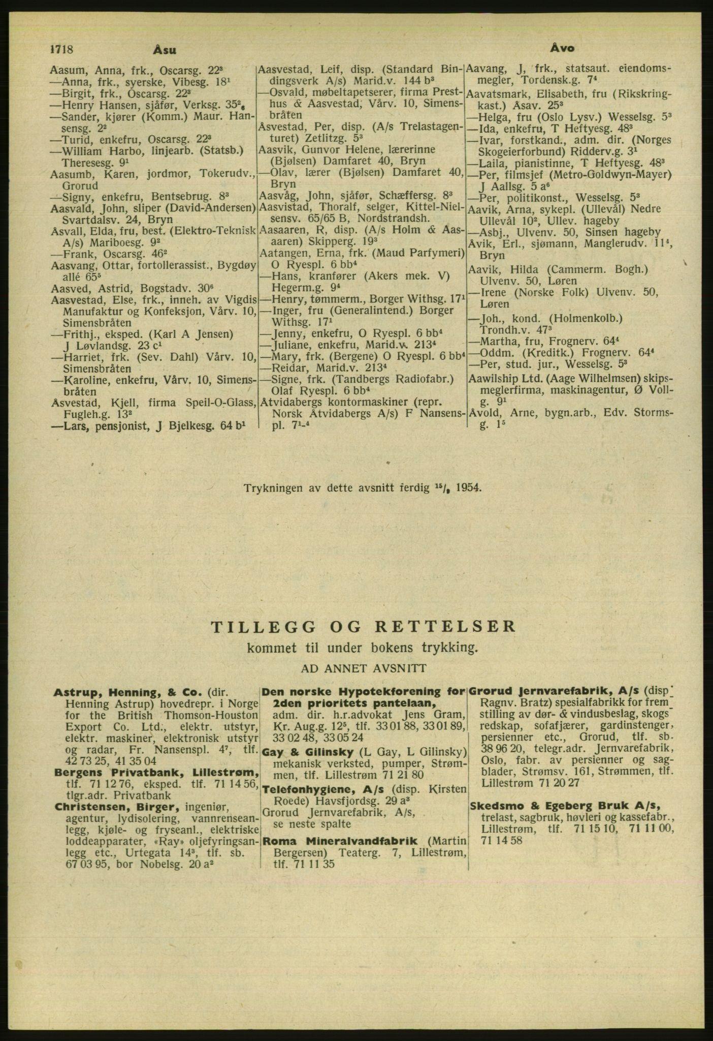 PUBL, Kristiania/Oslo adressebok, 1954, s. 1718