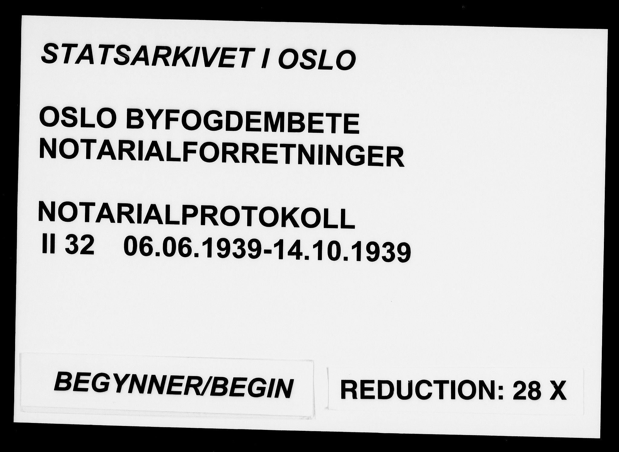 SAO, Oslo byfogd avd. I, L/Lb/Lbb/L0032: Notarialprotokoll, rekke II: Vigsler, 1939, s. upaginert