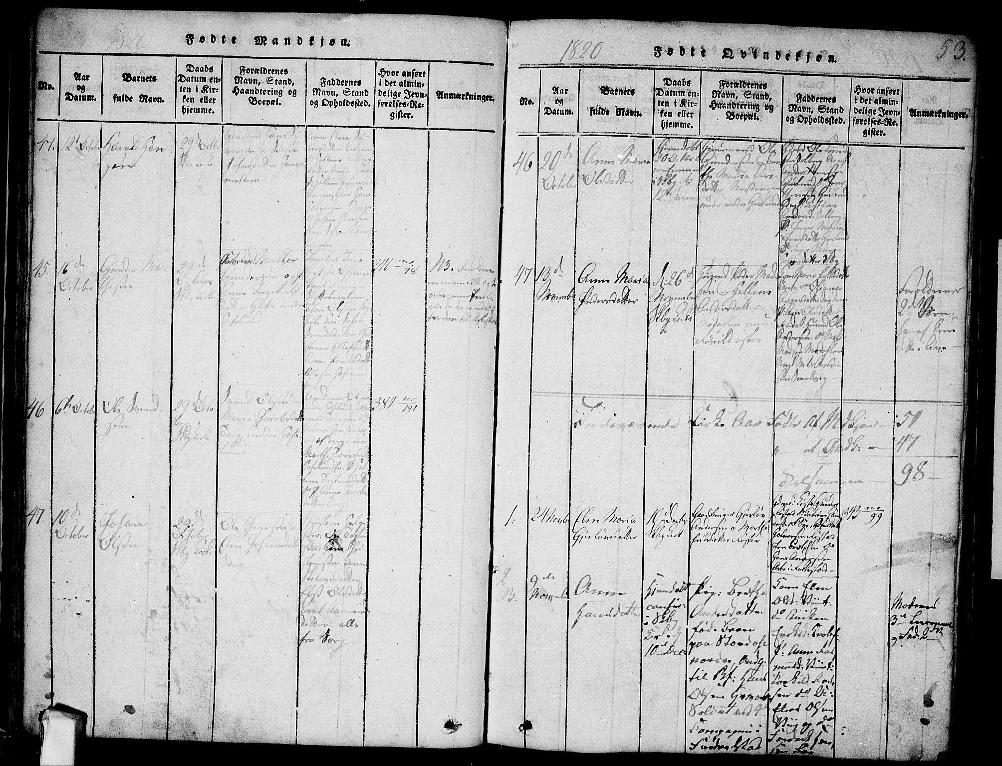 SAO, Skjeberg prestekontor Kirkebøker, F/Fa/L0004: Ministerialbok nr. I 4, 1815-1830, s. 53