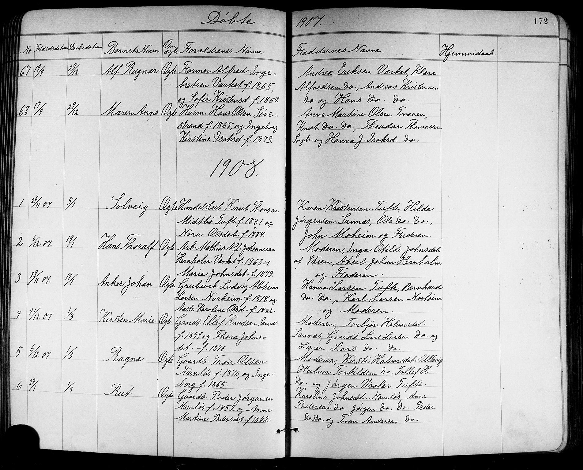 SAKO, Holla kirkebøker, G/Ga/L0005: Klokkerbok nr. I 5, 1891-1917, s. 172