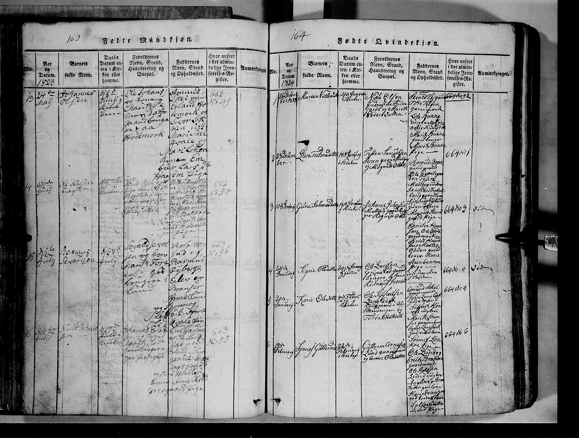 SAH, Lom prestekontor, L/L0003: Klokkerbok nr. 3, 1815-1844, s. 163-164