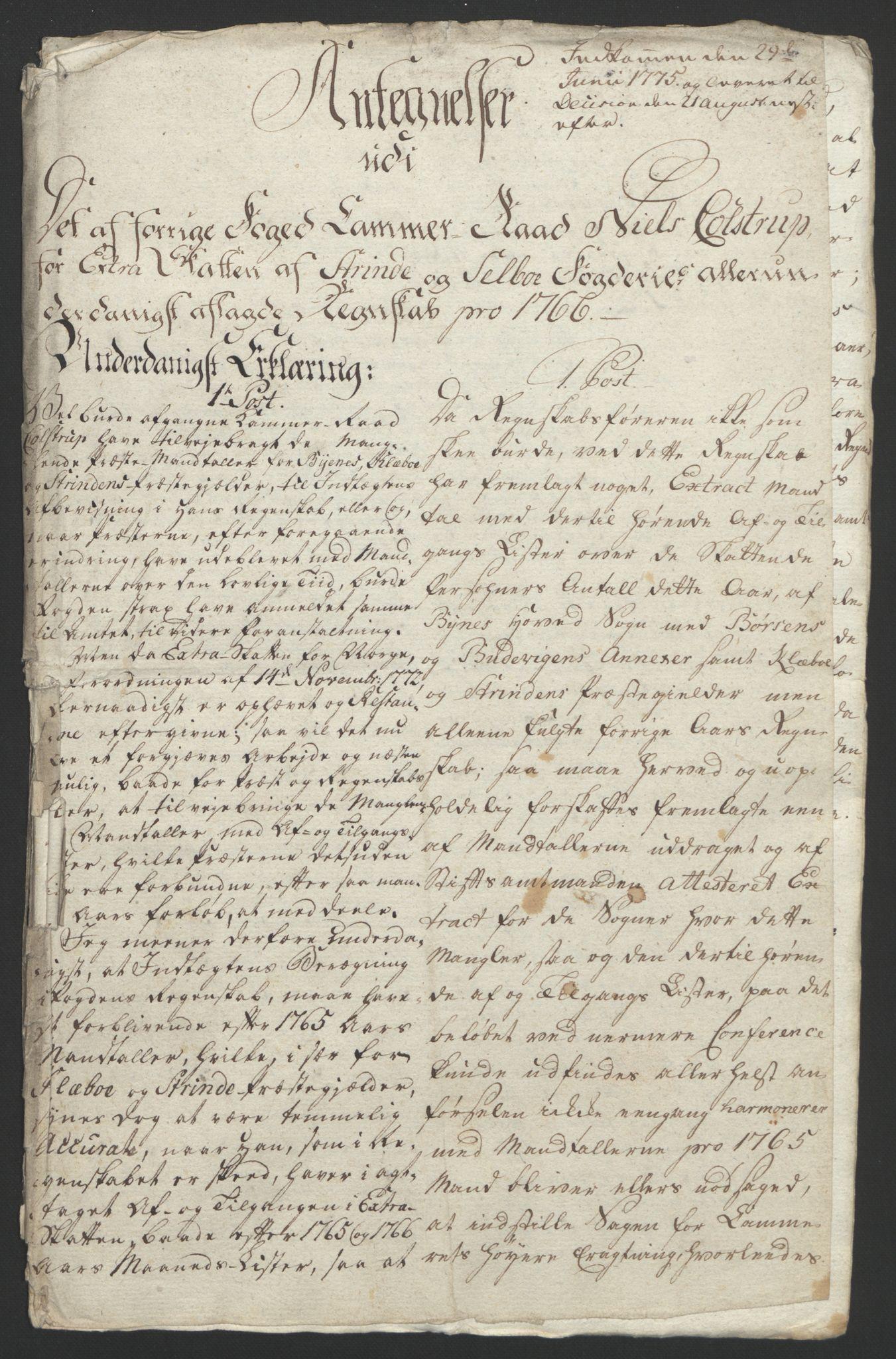 RA, Rentekammeret inntil 1814, Reviderte regnskaper, Fogderegnskap, R61/L4180: Ekstraskatten Strinda og Selbu, 1762-1767, s. 286