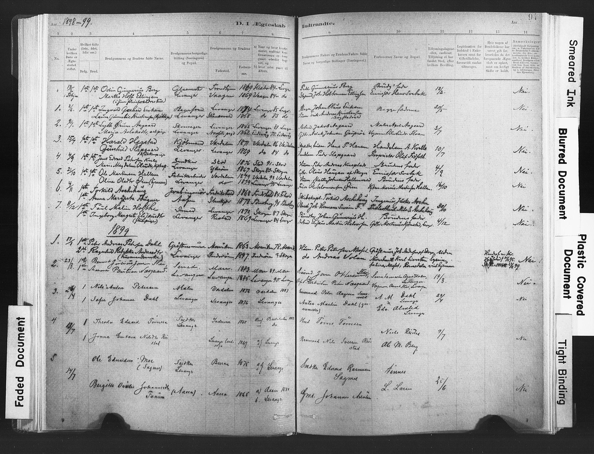 SAT, Ministerialprotokoller, klokkerbøker og fødselsregistre - Nord-Trøndelag, 720/L0189: Ministerialbok nr. 720A05, 1880-1911, s. 94