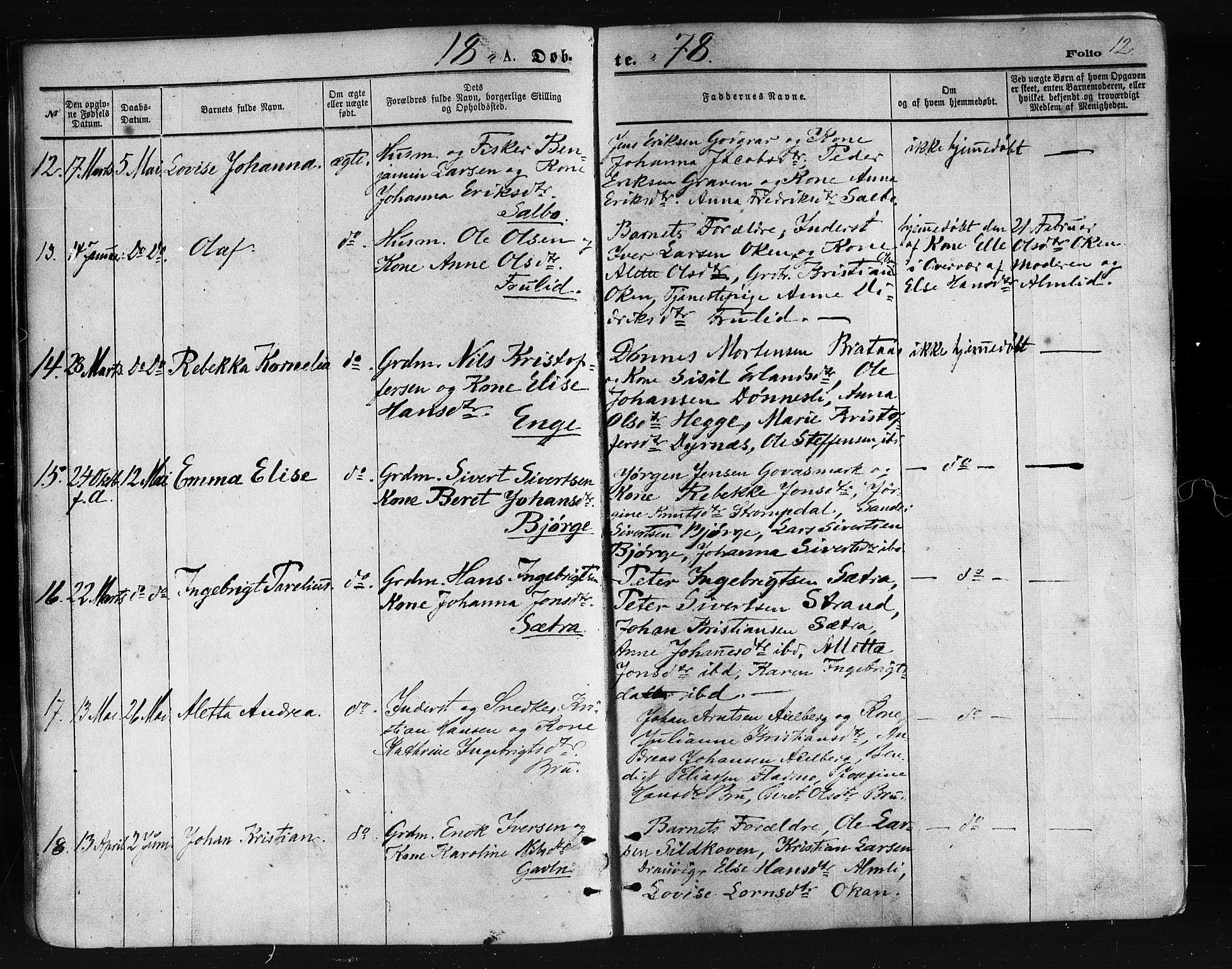 SAT, Ministerialprotokoller, klokkerbøker og fødselsregistre - Nordland, 814/L0225: Ministerialbok nr. 814A06, 1875-1885, s. 12