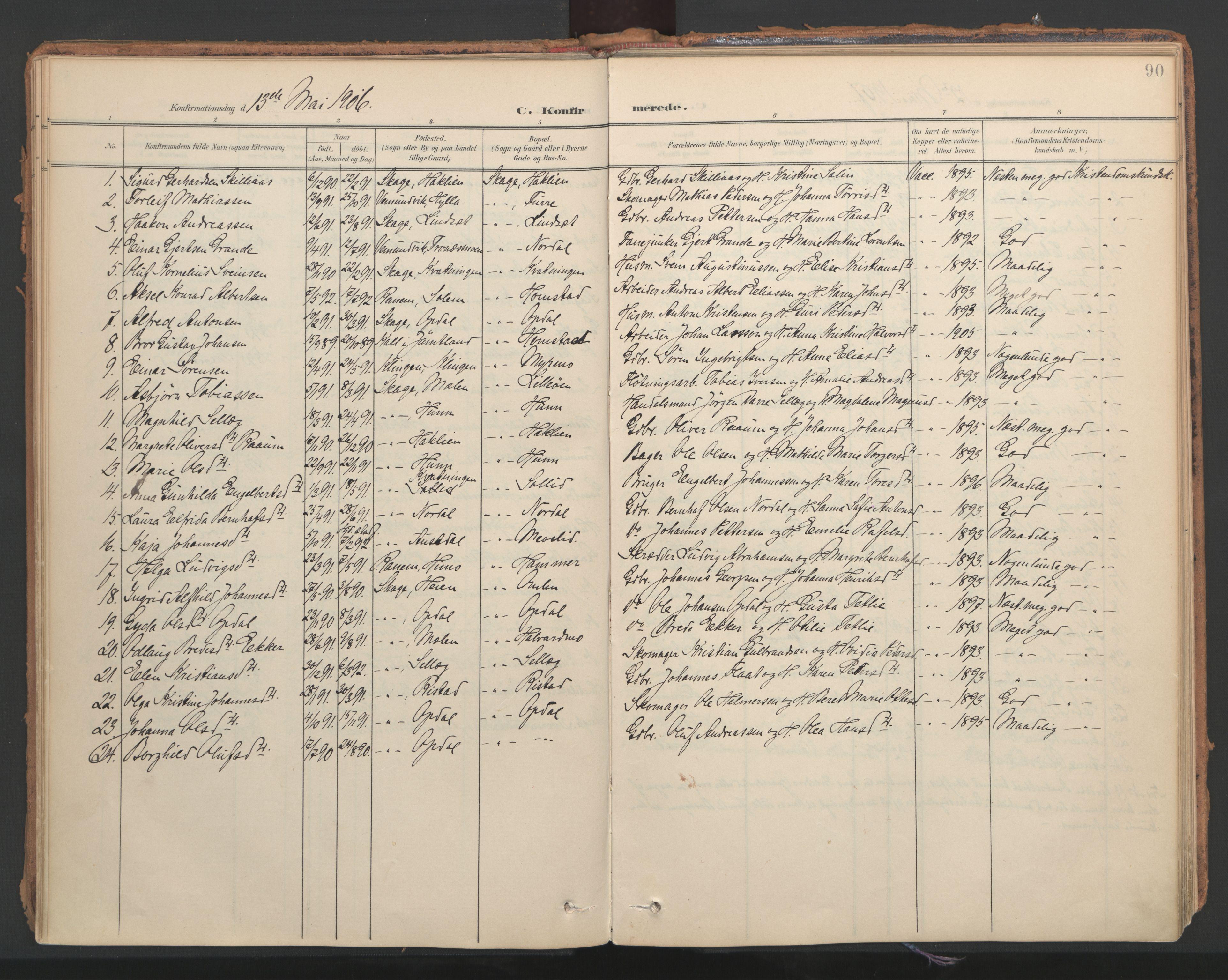 SAT, Ministerialprotokoller, klokkerbøker og fødselsregistre - Nord-Trøndelag, 766/L0564: Ministerialbok nr. 767A02, 1900-1932, s. 90