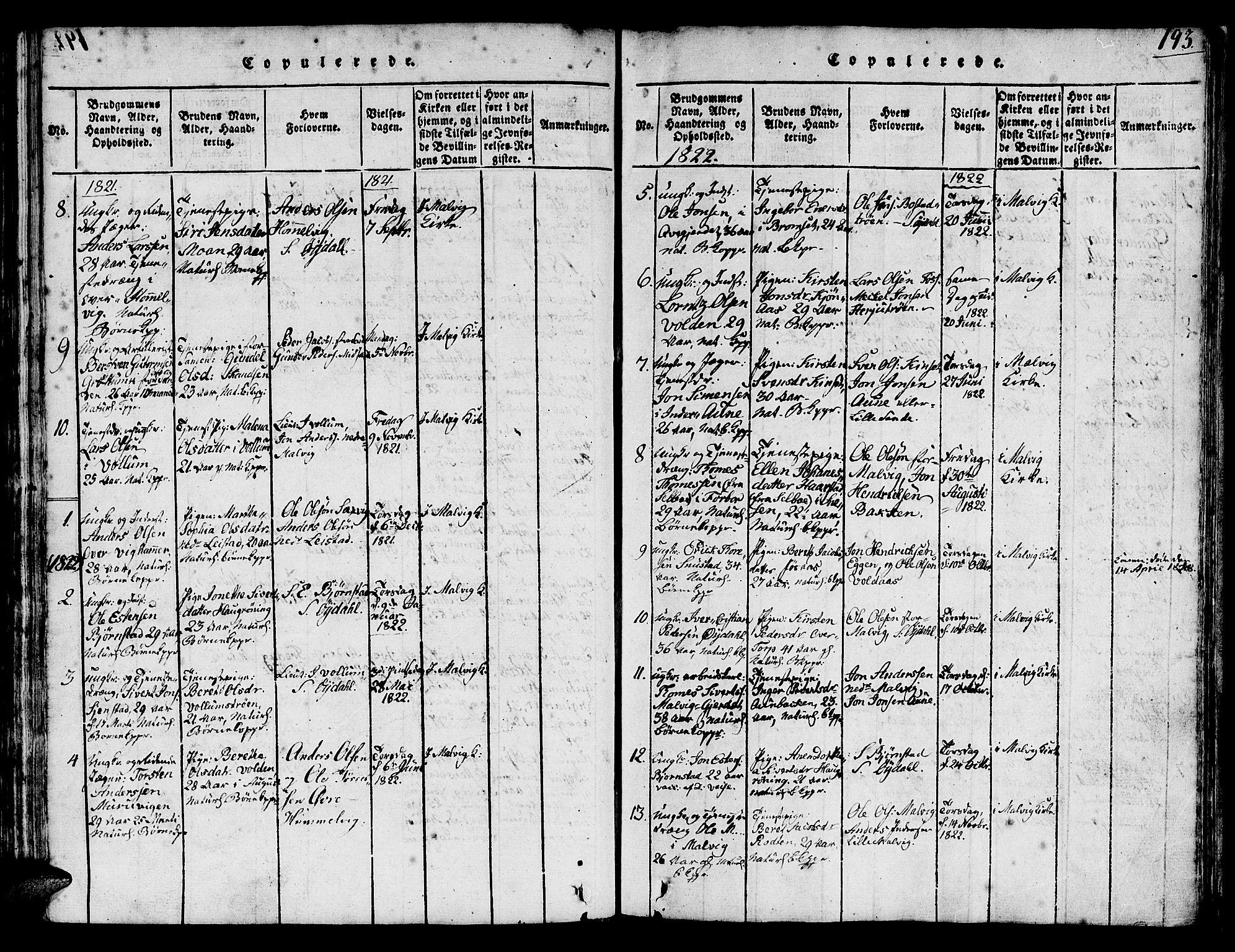 SAT, Ministerialprotokoller, klokkerbøker og fødselsregistre - Sør-Trøndelag, 616/L0420: Klokkerbok nr. 616C03, 1817-1835, s. 193