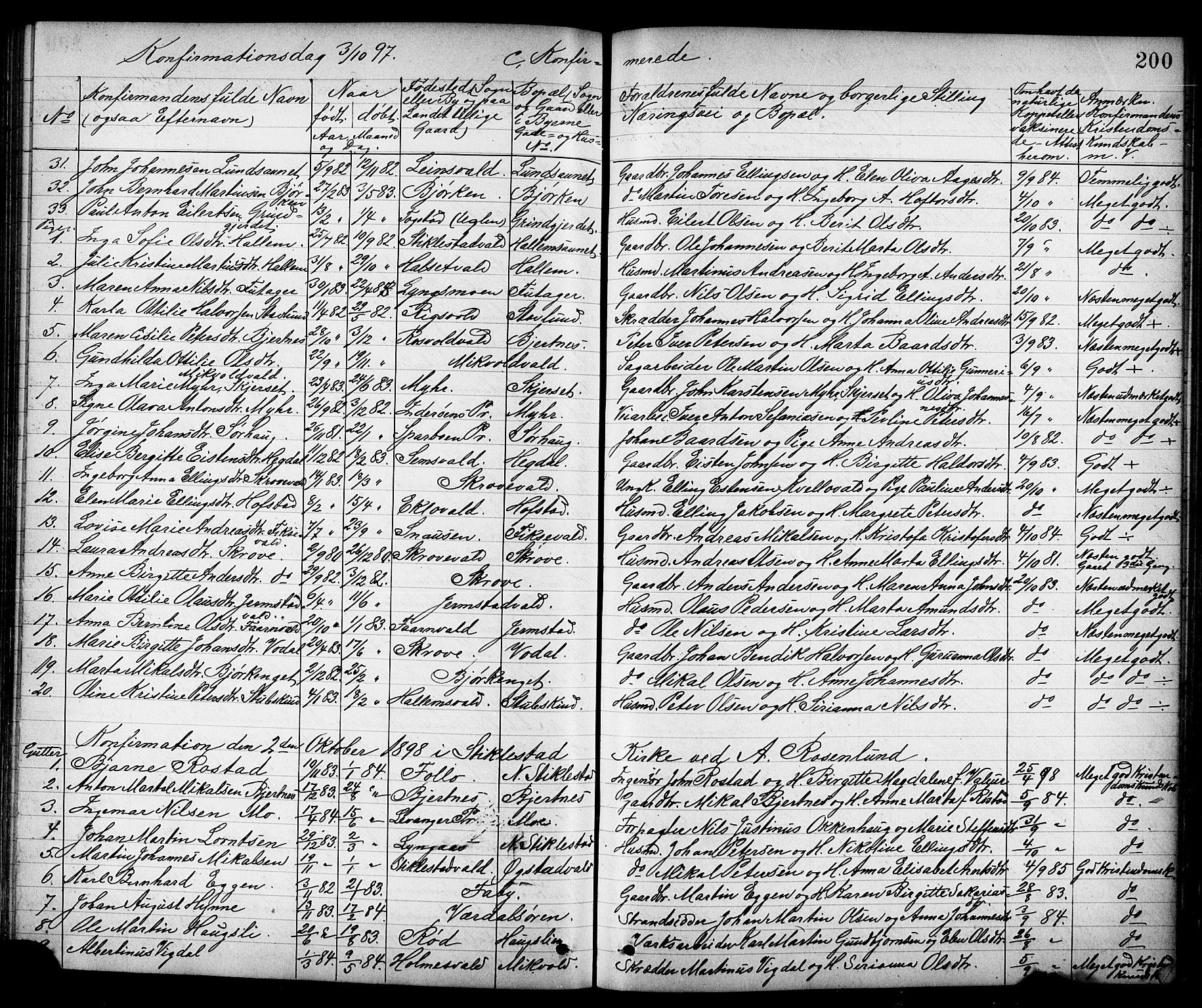 SAT, Ministerialprotokoller, klokkerbøker og fødselsregistre - Nord-Trøndelag, 723/L0257: Klokkerbok nr. 723C05, 1890-1907, s. 200