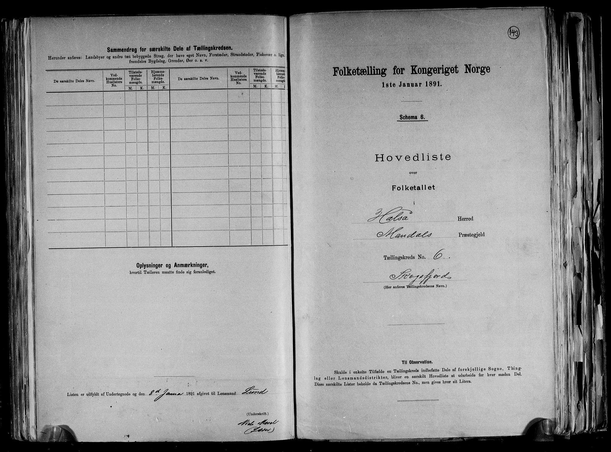 RA, Folketelling 1891 for 1019 Halse og Harkmark herred, 1891, s. 14