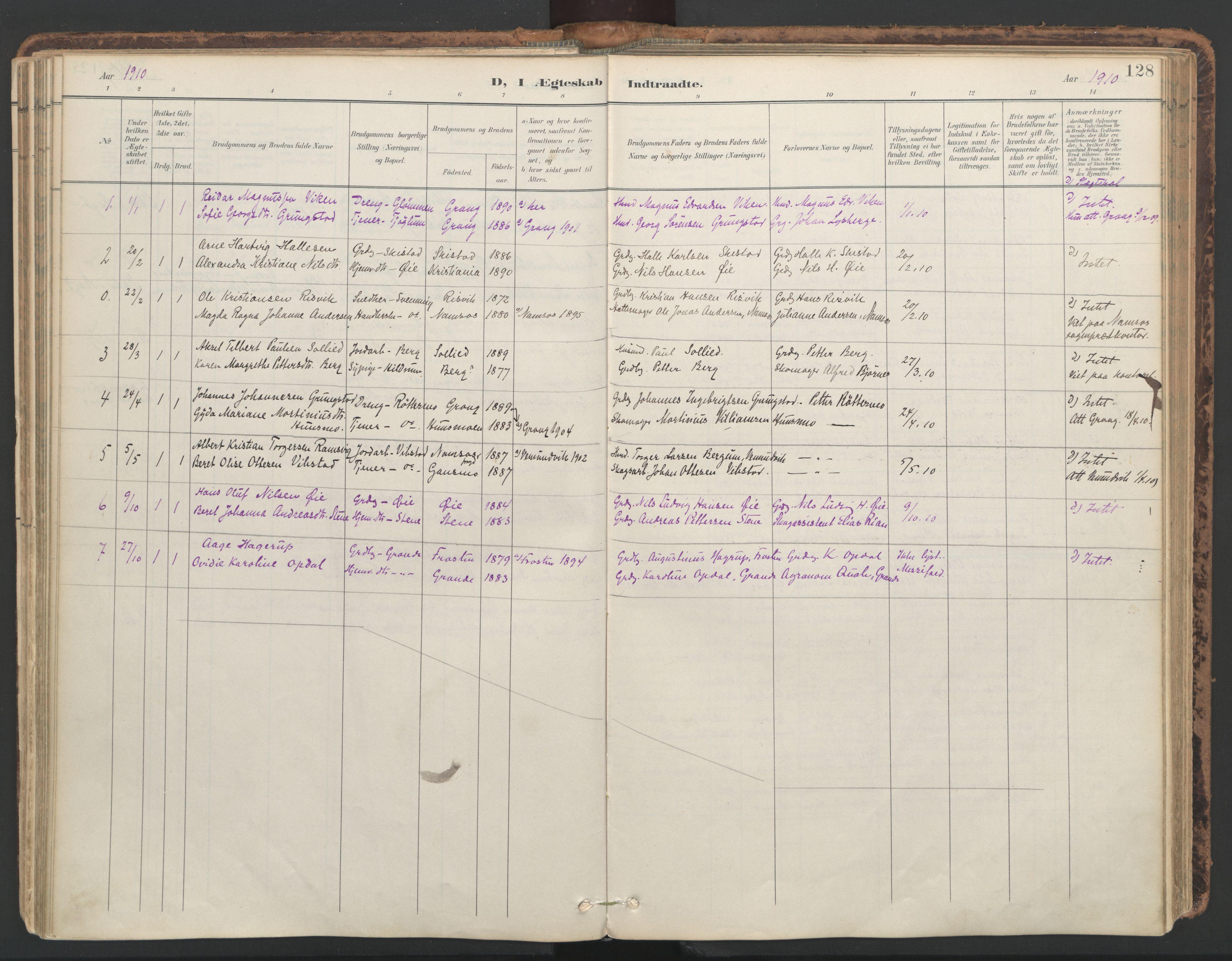 SAT, Ministerialprotokoller, klokkerbøker og fødselsregistre - Nord-Trøndelag, 764/L0556: Ministerialbok nr. 764A11, 1897-1924, s. 128