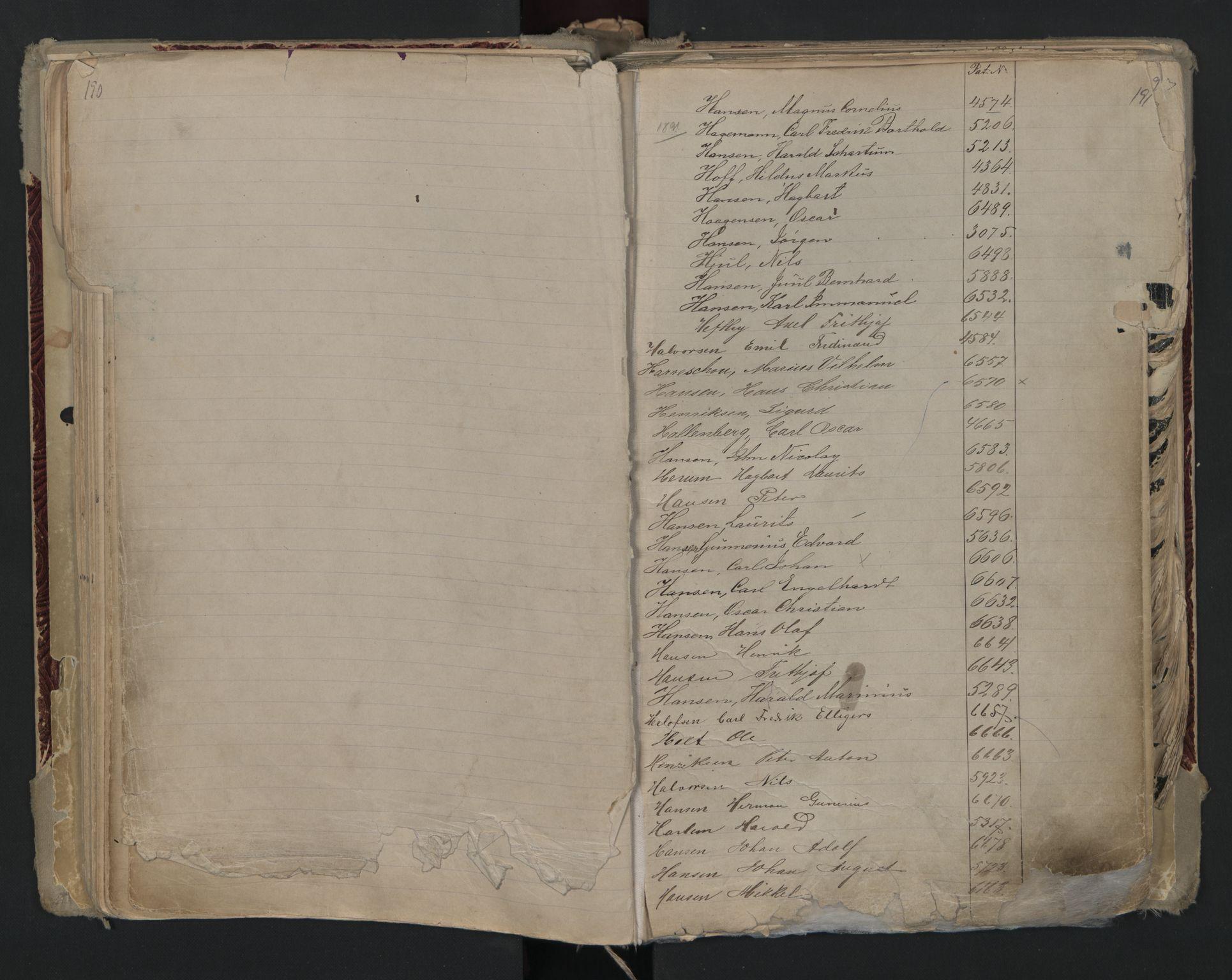 SAO, Oslo sjømannskontor, F/Fa/L0002: Register for Kristiania krets, 1866-1930, s. 190-191