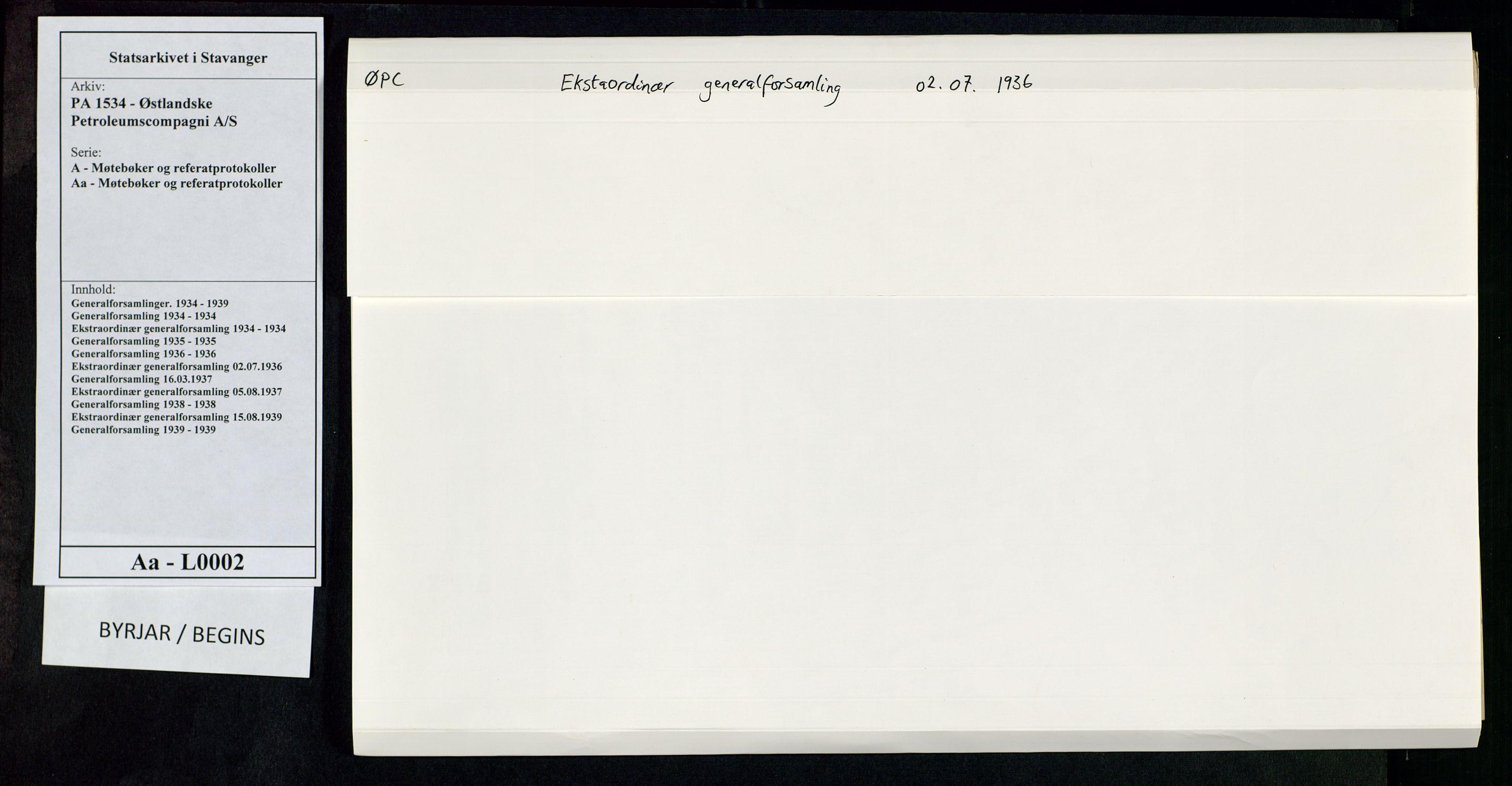 SAST, PA 1534 - Østlandske Petroleumscompagni A/S, A/Aa/L0002: Generalforsamlinger., 1936, s. 1