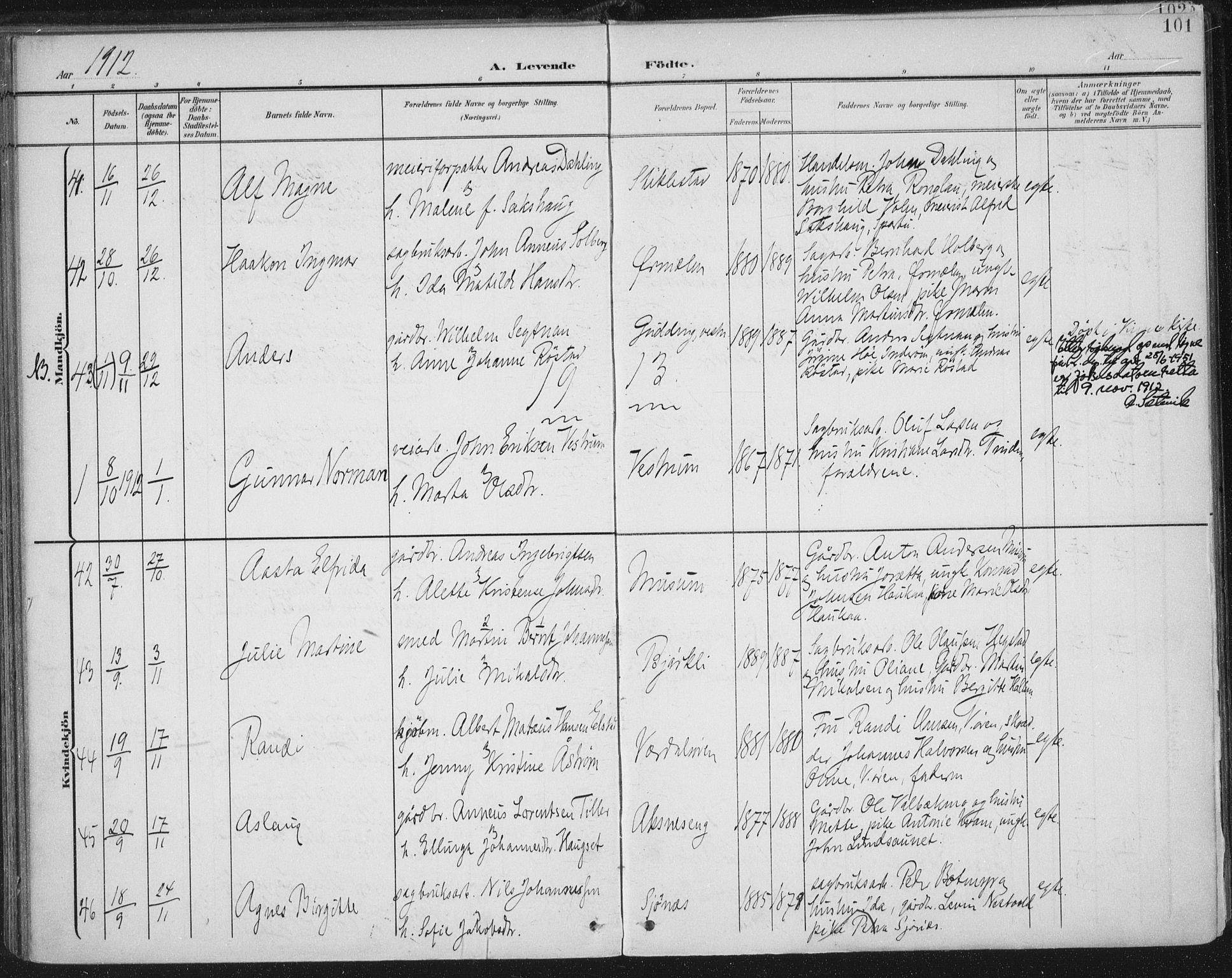SAT, Ministerialprotokoller, klokkerbøker og fødselsregistre - Nord-Trøndelag, 723/L0246: Ministerialbok nr. 723A15, 1900-1917, s. 101