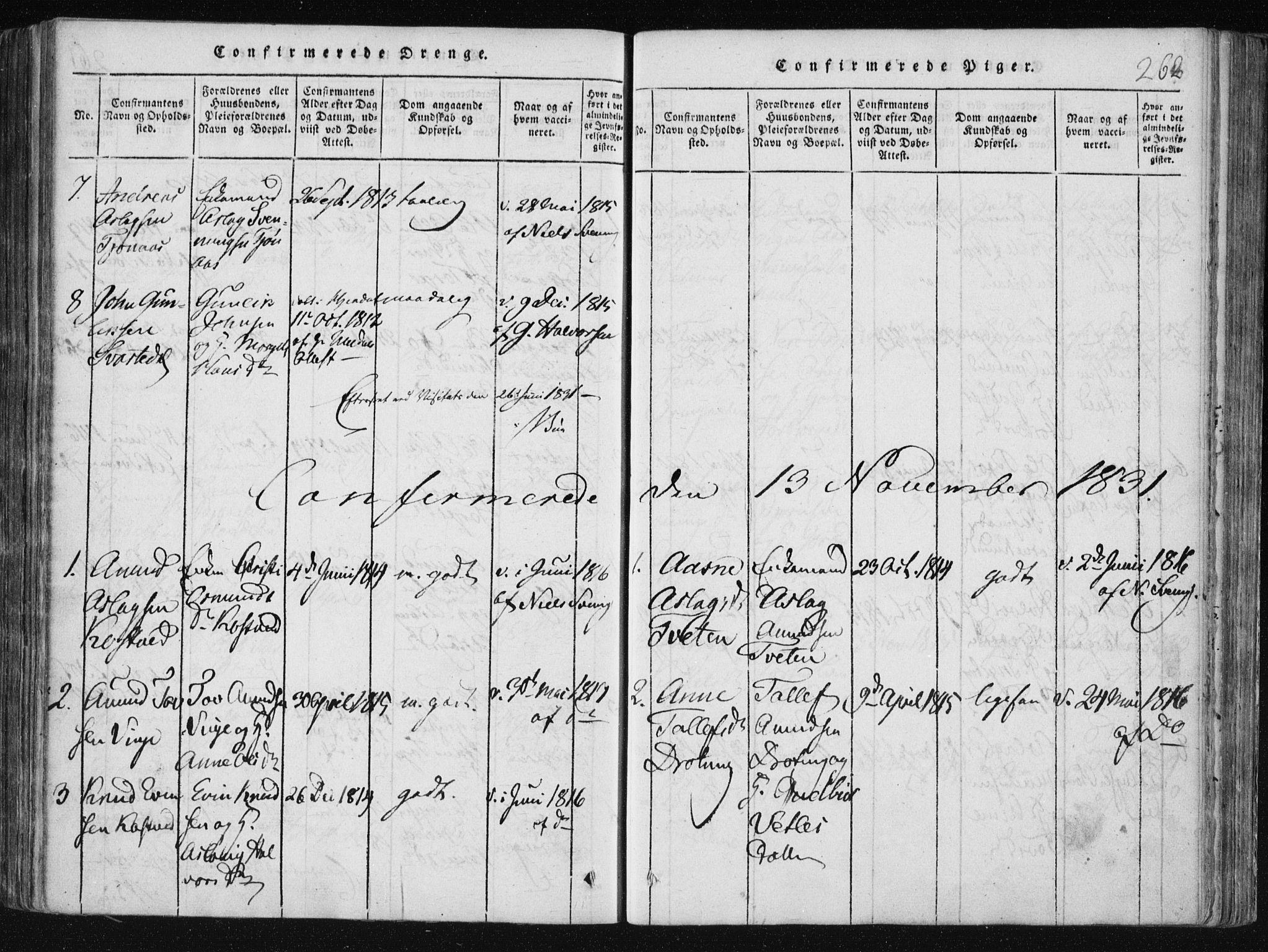 SAKO, Vinje kirkebøker, F/Fa/L0003: Ministerialbok nr. I 3, 1814-1843, s. 262
