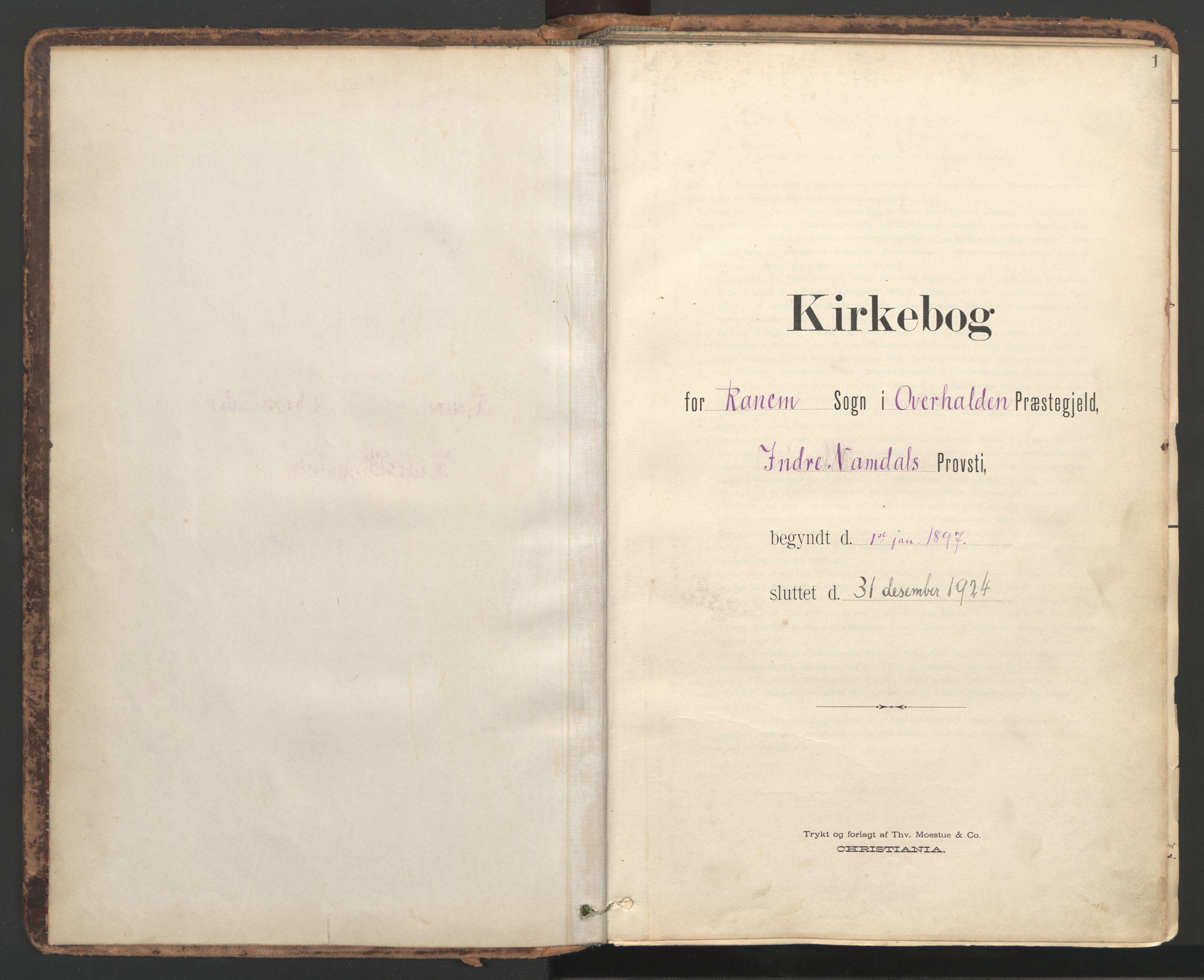SAT, Ministerialprotokoller, klokkerbøker og fødselsregistre - Nord-Trøndelag, 764/L0556: Ministerialbok nr. 764A11, 1897-1924, s. 1