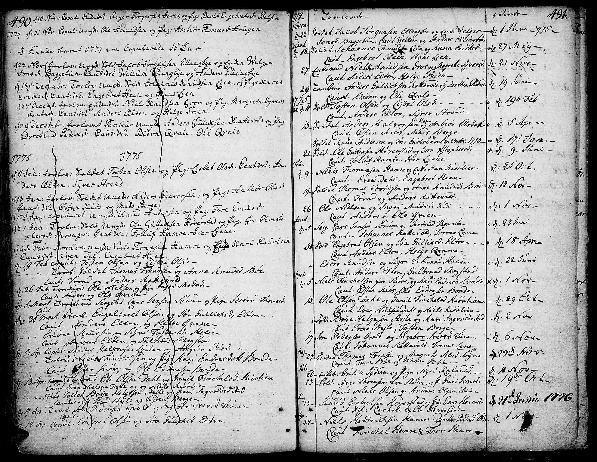 SAH, Vang prestekontor, Valdres, Ministerialbok nr. 1, 1730-1796, s. 490-491