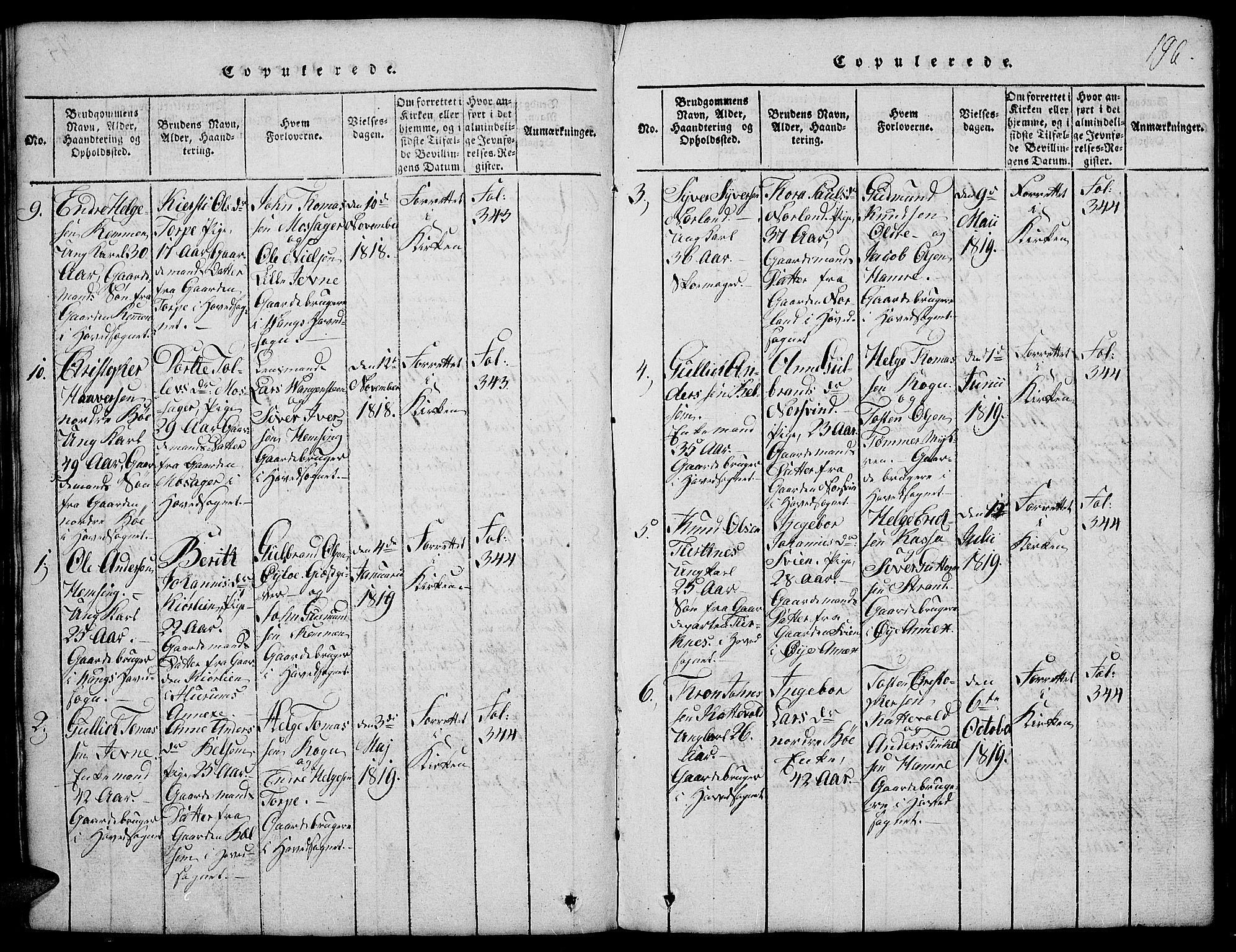SAH, Vang prestekontor, Valdres, Klokkerbok nr. 2, 1814-1889, s. 196