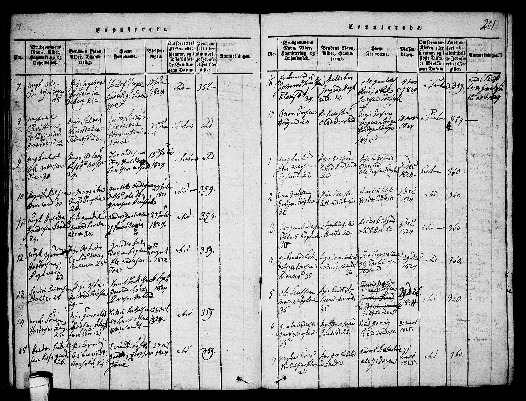 SAKO, Seljord kirkebøker, F/Fa/L0010: Ministerialbok nr. I 10, 1815-1831, s. 201
