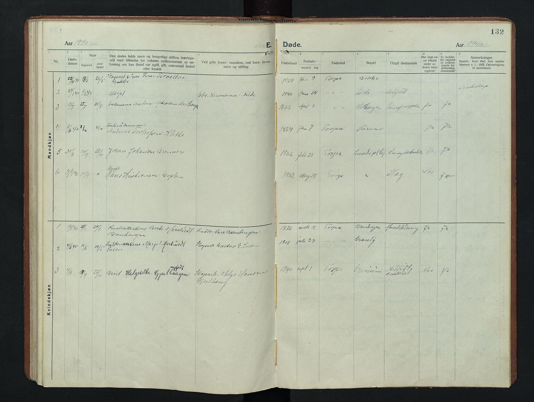 SAH, Nordre Land prestekontor, Klokkerbok nr. 9, 1921-1956, s. 132