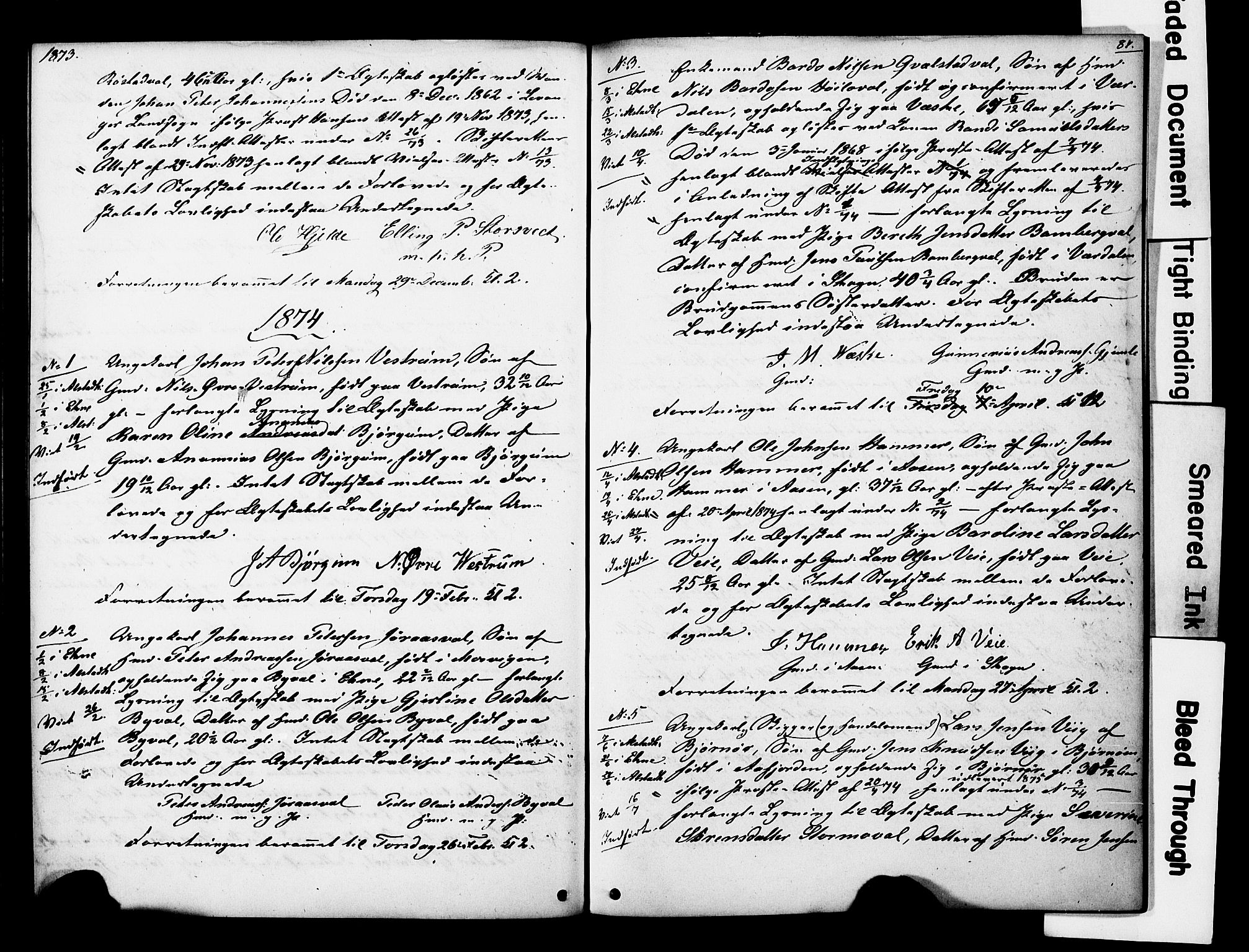 SAT, Ministerialprotokoller, klokkerbøker og fødselsregistre - Nord-Trøndelag, 717/L0161: Forlovererklæringer nr. 717A11, 1850-1895, s. 87
