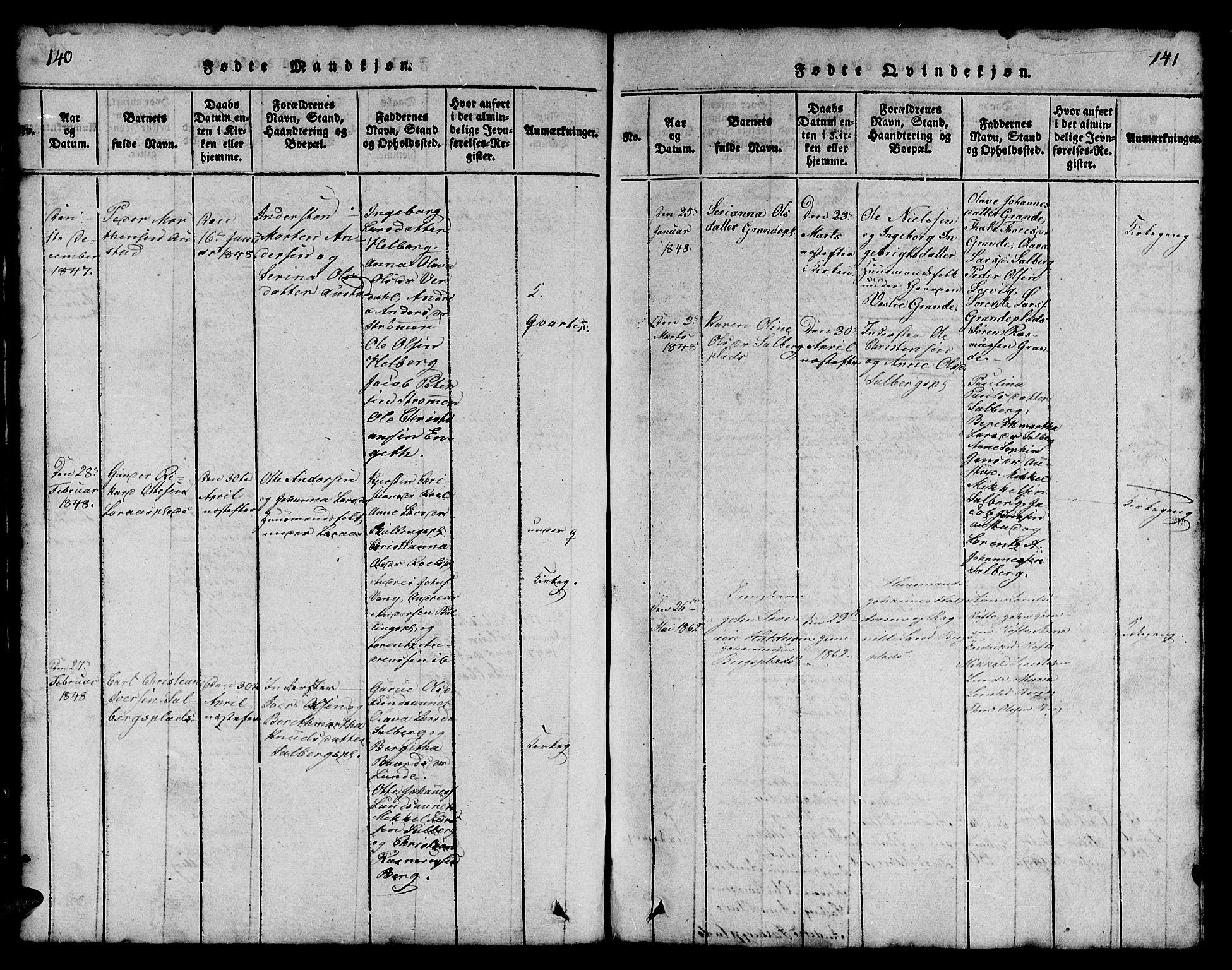 SAT, Ministerialprotokoller, klokkerbøker og fødselsregistre - Nord-Trøndelag, 731/L0310: Klokkerbok nr. 731C01, 1816-1874, s. 140-141