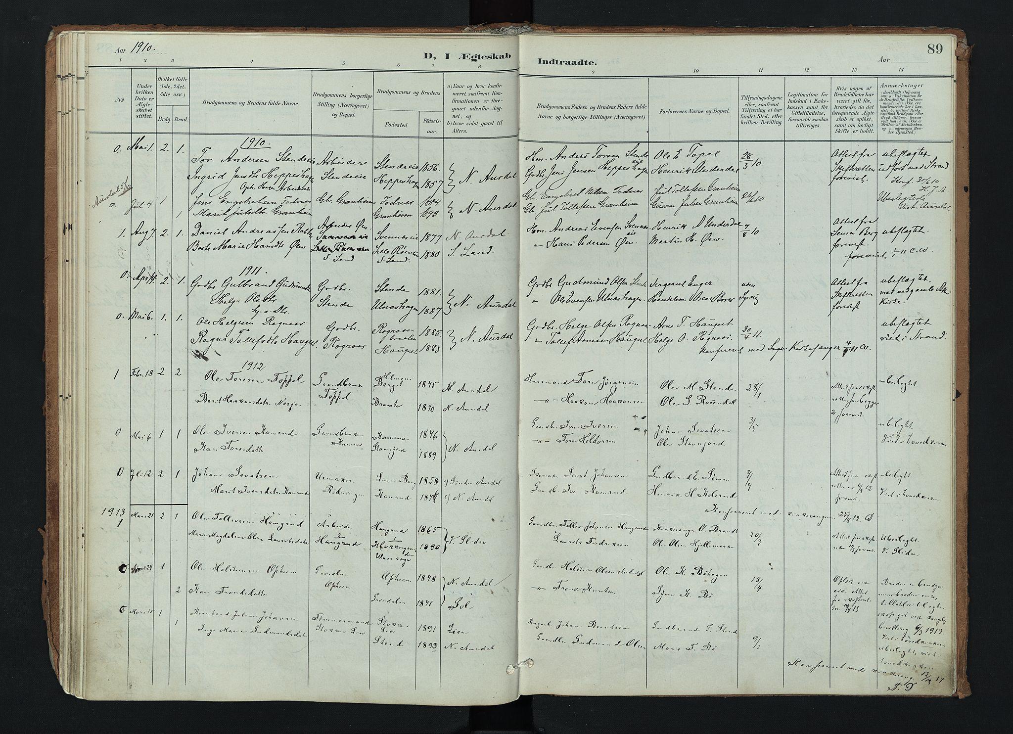 SAH, Nord-Aurdal prestekontor, Ministerialbok nr. 17, 1897-1926, s. 89