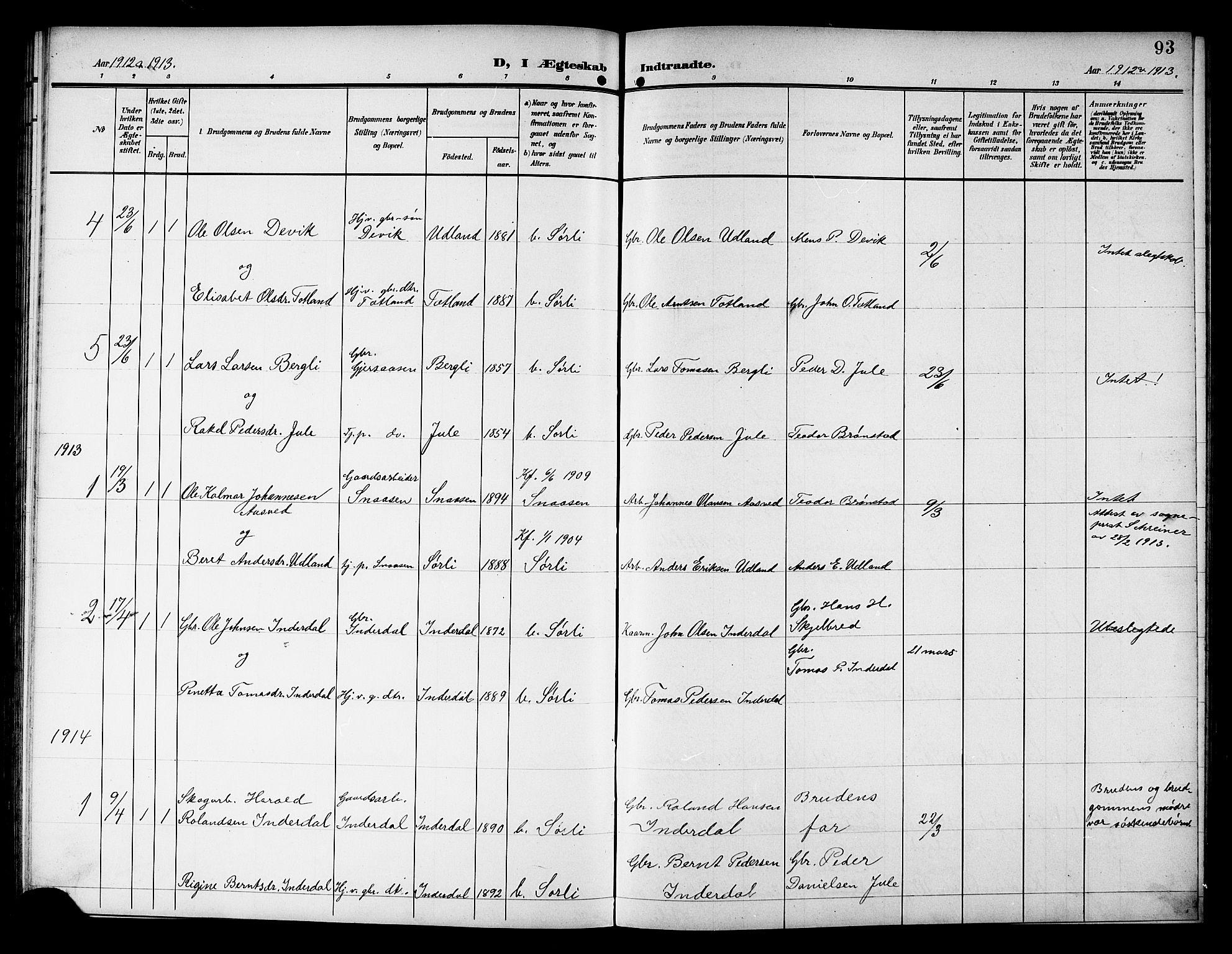 SAT, Ministerialprotokoller, klokkerbøker og fødselsregistre - Nord-Trøndelag, 757/L0506: Klokkerbok nr. 757C01, 1904-1922, s. 93