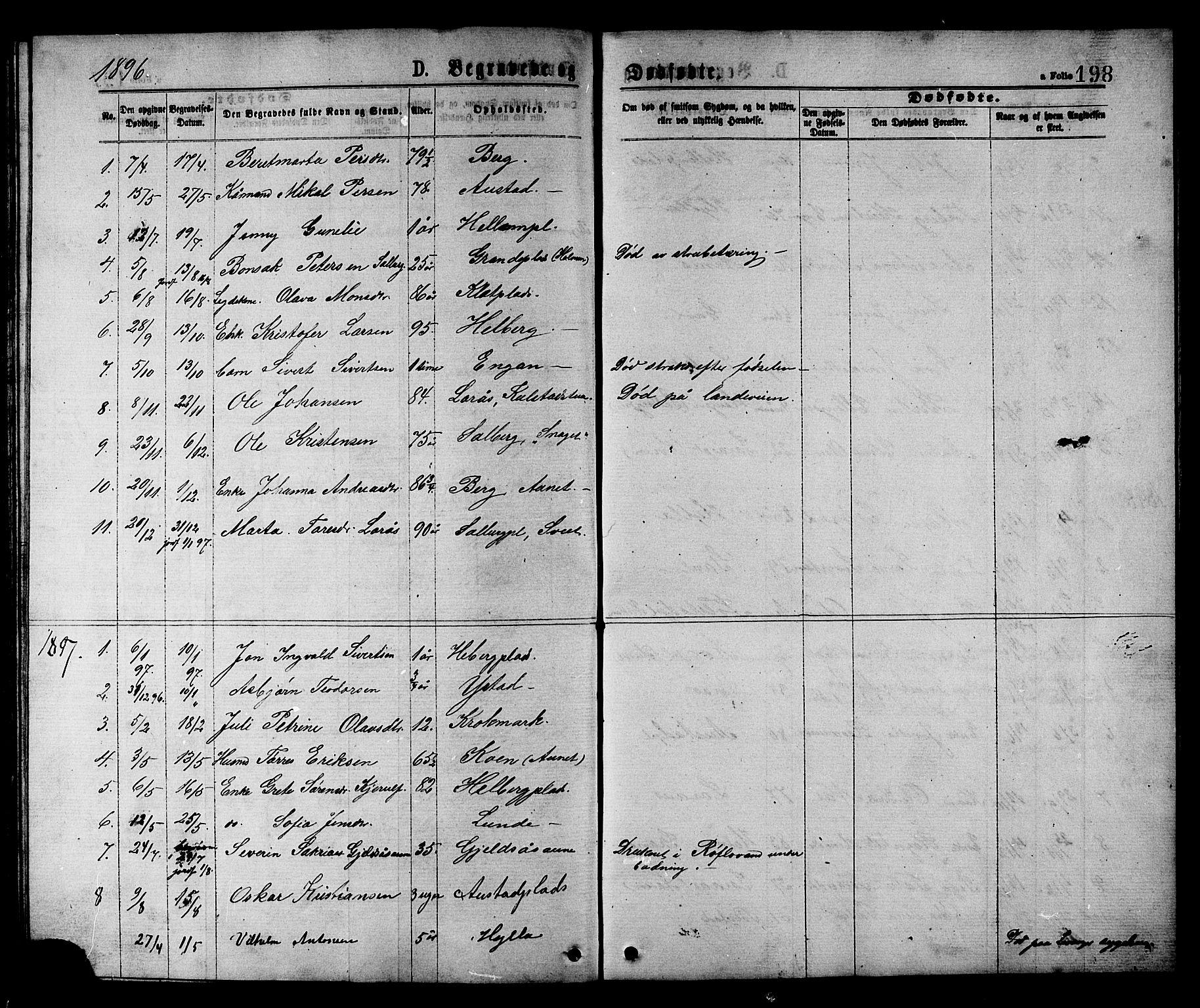 SAT, Ministerialprotokoller, klokkerbøker og fødselsregistre - Nord-Trøndelag, 731/L0311: Klokkerbok nr. 731C02, 1875-1911, s. 198