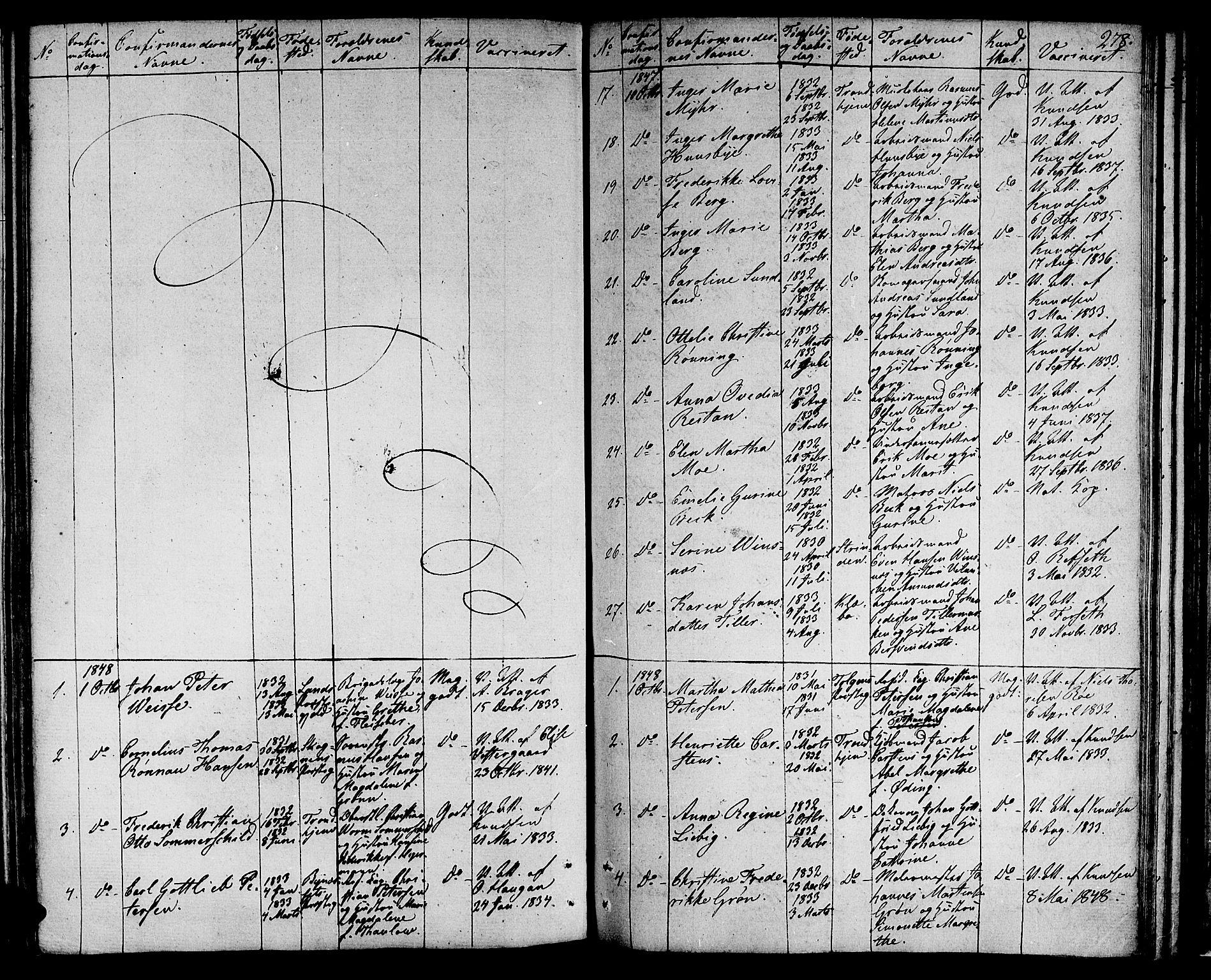 SAT, Ministerialprotokoller, klokkerbøker og fødselsregistre - Sør-Trøndelag, 601/L0070: Residerende kapellans bok nr. 601B03, 1821-1881, s. 278