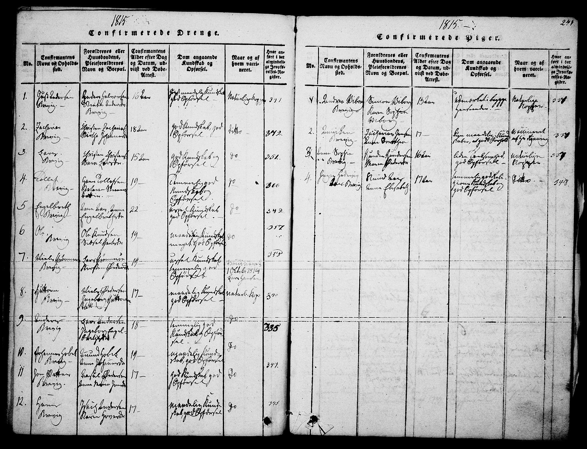 SAKO, Brevik kirkebøker, F/Fa/L0004: Ministerialbok nr. 4, 1814-1846, s. 241