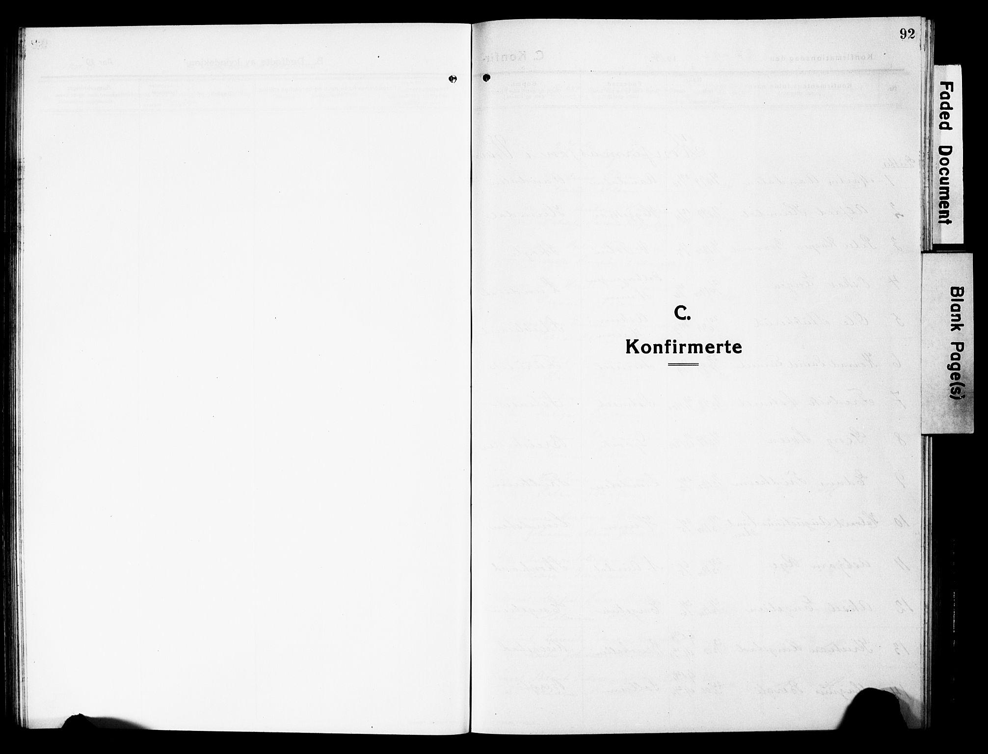 SAH, Vardal prestekontor, H/Ha/Hab/L0015: Klokkerbok nr. 15, 1914-1931, s. 92