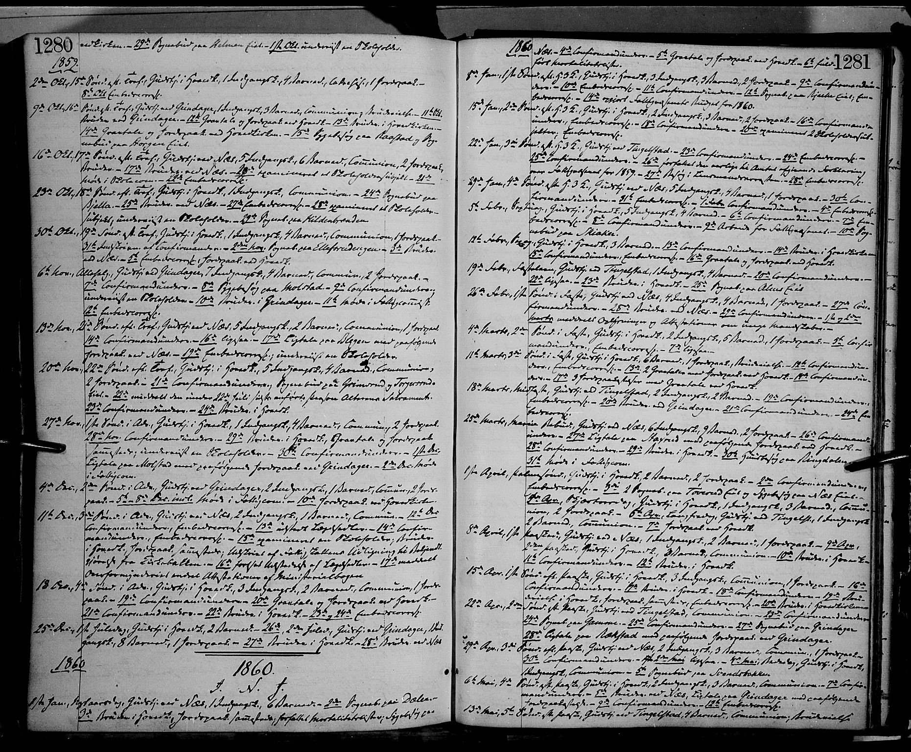 SAH, Gran prestekontor, Ministerialbok nr. 12, 1856-1874, s. 1280-1281