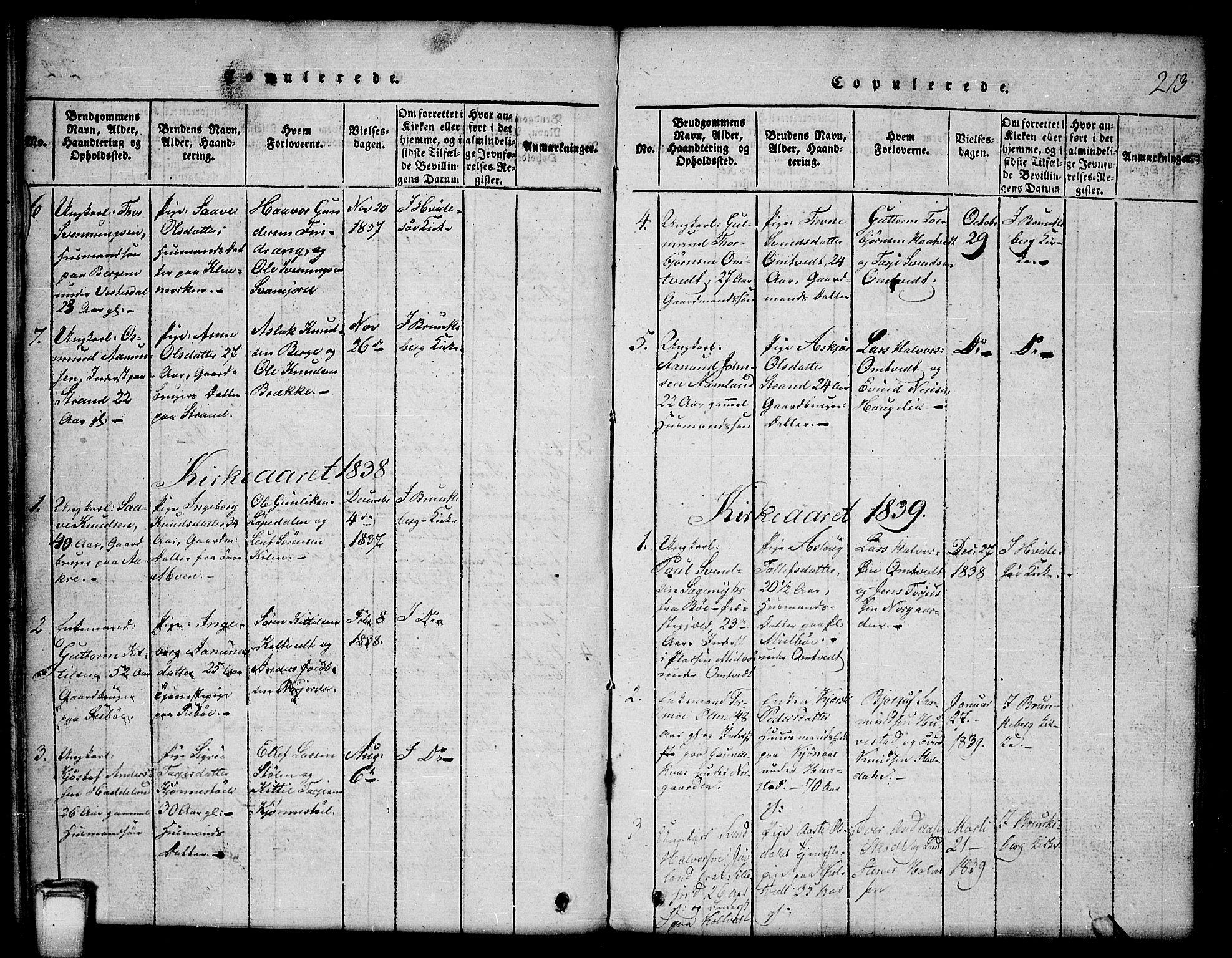 SAKO, Kviteseid kirkebøker, G/Gb/L0001: Klokkerbok nr. II 1, 1815-1842, s. 213