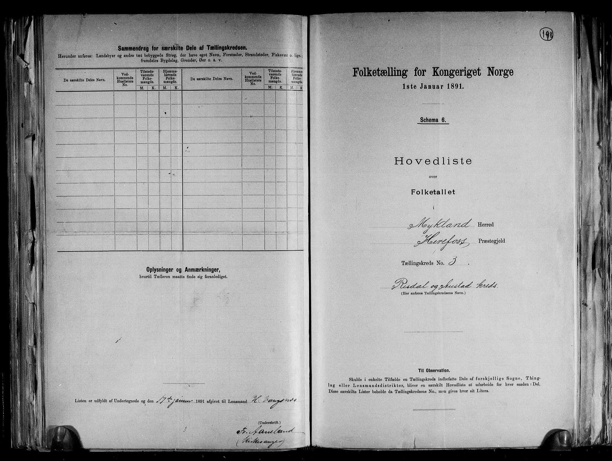 RA, Folketelling 1891 for 0932 Mykland herred, 1891, s. 8