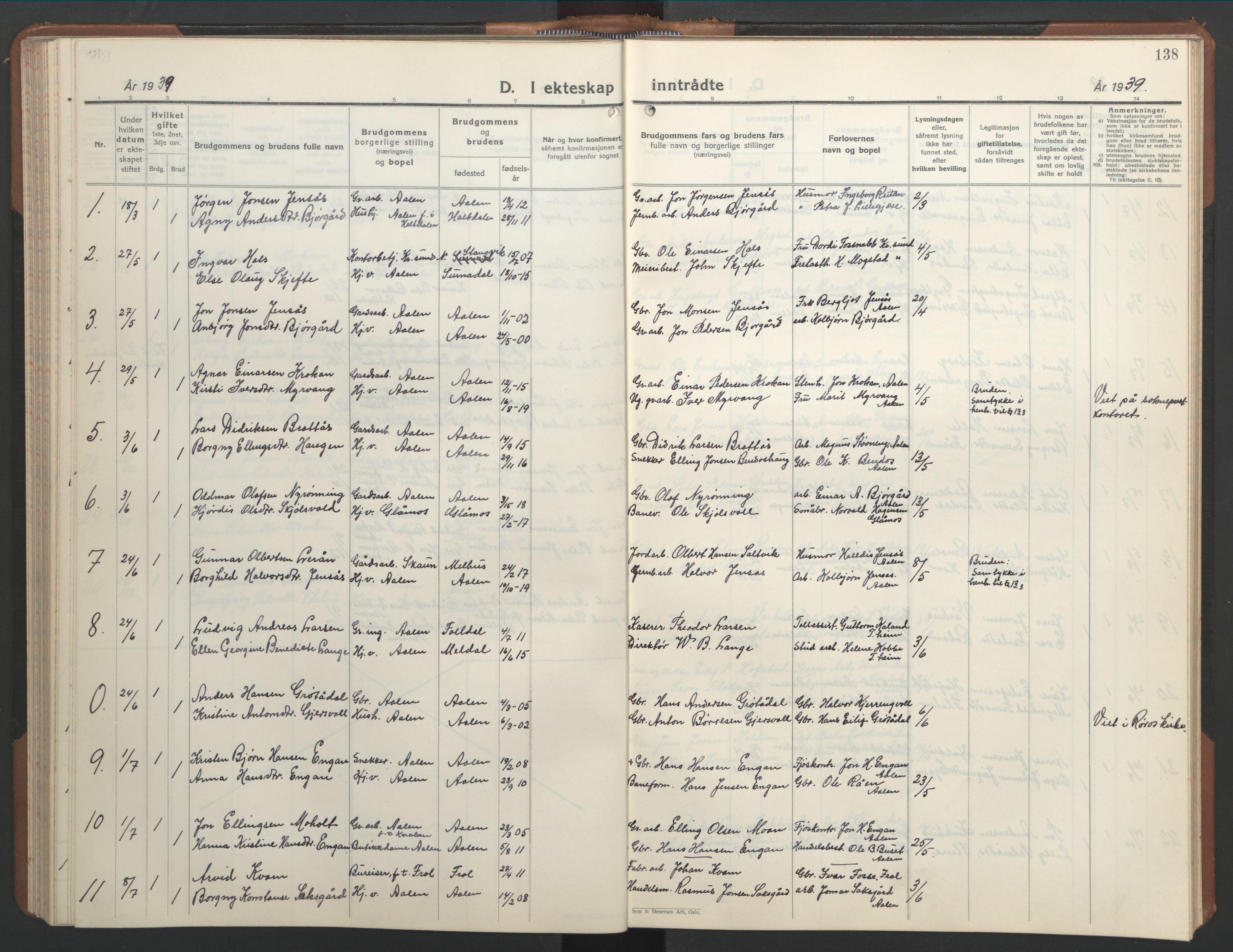 SAT, Ministerialprotokoller, klokkerbøker og fødselsregistre - Sør-Trøndelag, 686/L0986: Klokkerbok nr. 686C02, 1933-1950, s. 138