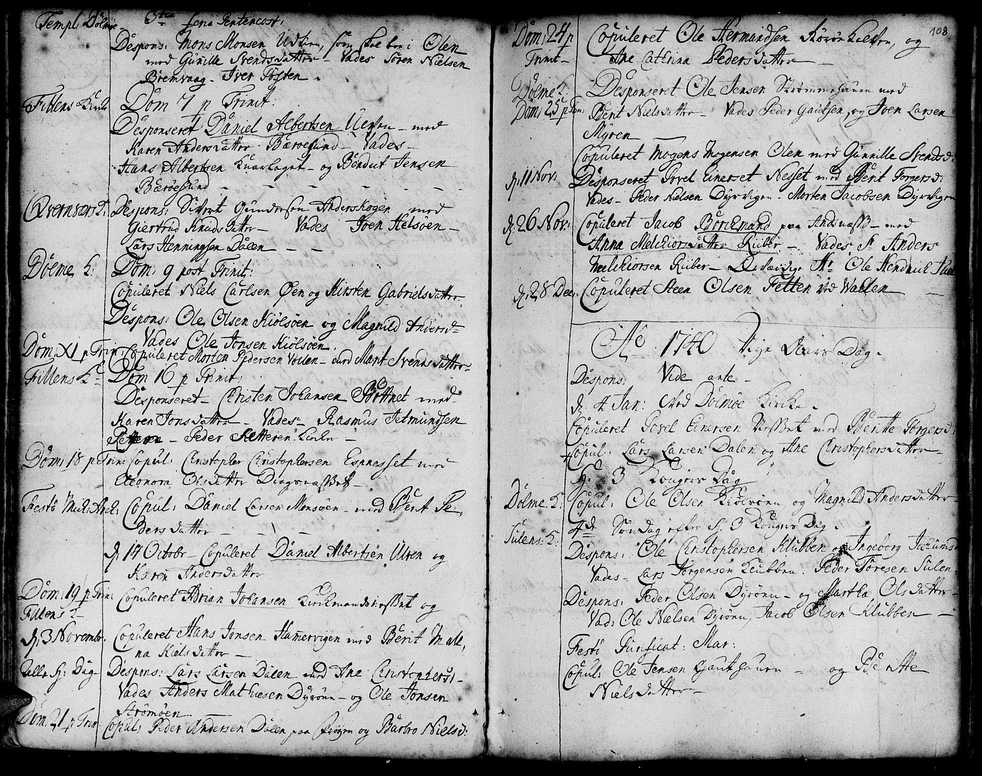 SAT, Ministerialprotokoller, klokkerbøker og fødselsregistre - Sør-Trøndelag, 634/L0525: Ministerialbok nr. 634A01, 1736-1775, s. 108