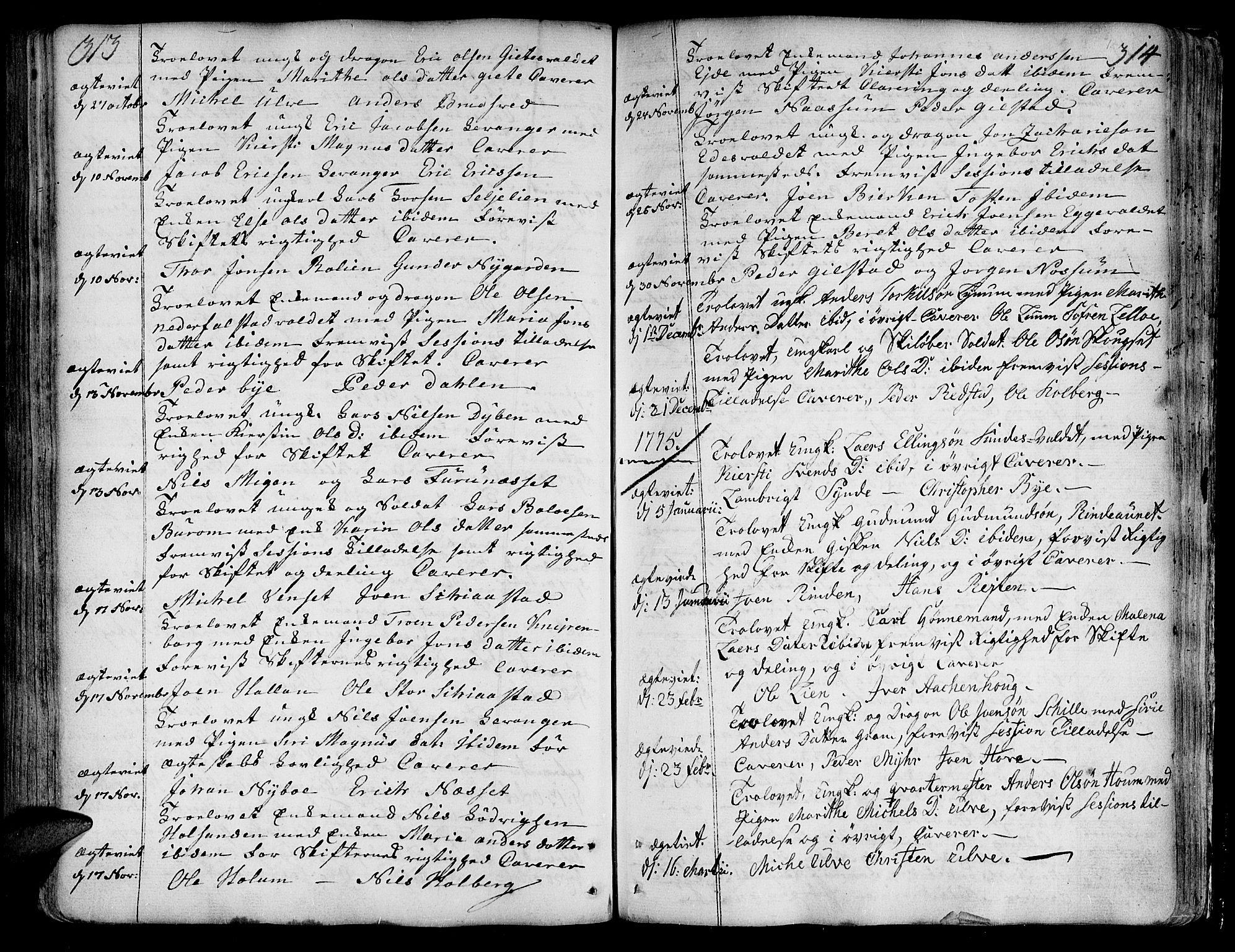 SAT, Ministerialprotokoller, klokkerbøker og fødselsregistre - Nord-Trøndelag, 717/L0141: Ministerialbok nr. 717A01, 1747-1803, s. 313-314