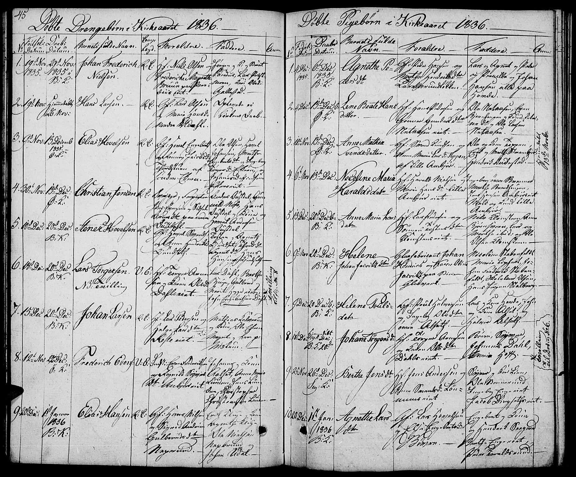 SAH, Biri prestekontor, Klokkerbok nr. 2, 1828-1842, s. 45