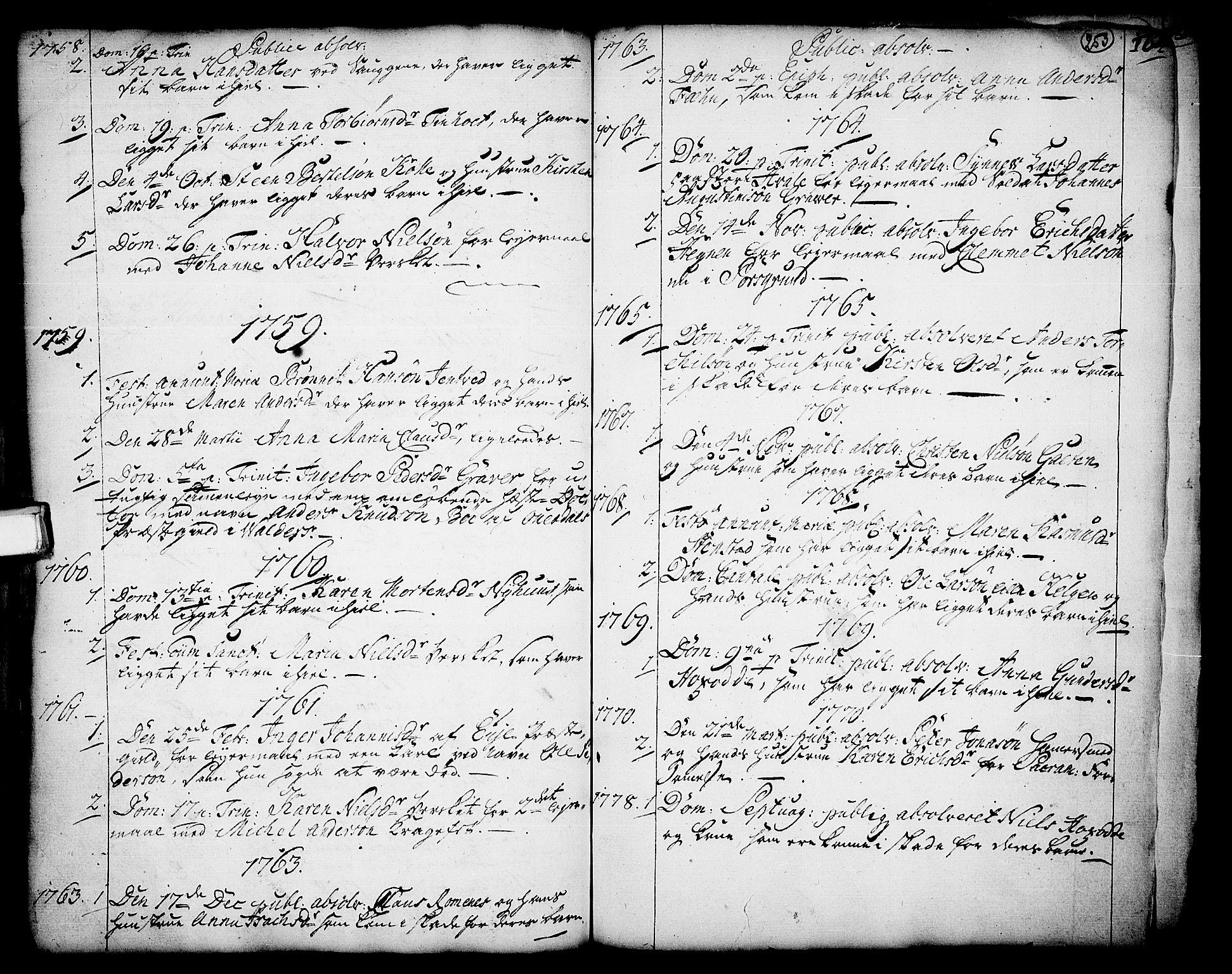 SAKO, Holla kirkebøker, F/Fa/L0001: Ministerialbok nr. 1, 1717-1779, s. 253