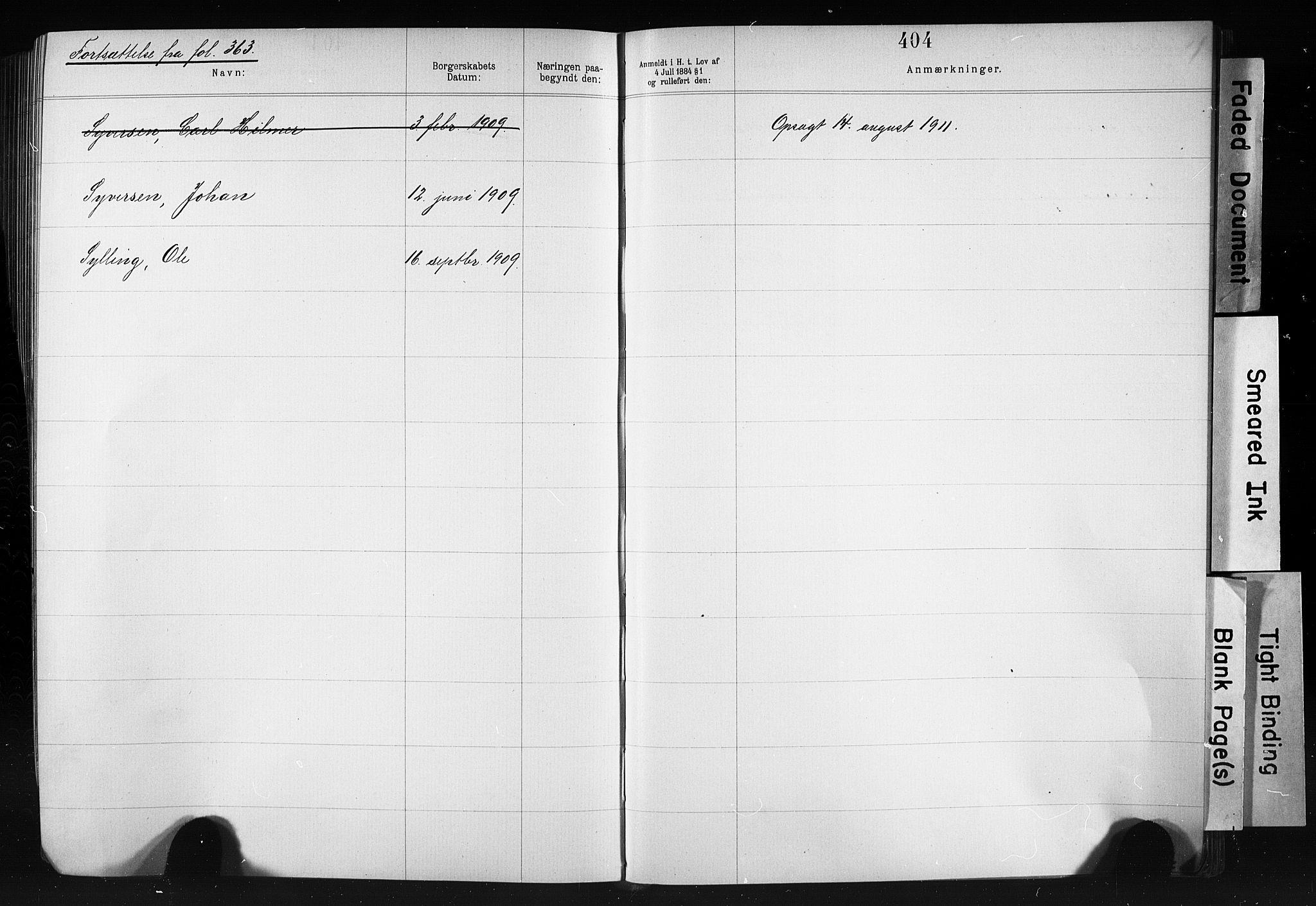 SAO, Kristiania magistrat, F/Fb/L0007: Borgerrulle, 1879-1909, s. 307