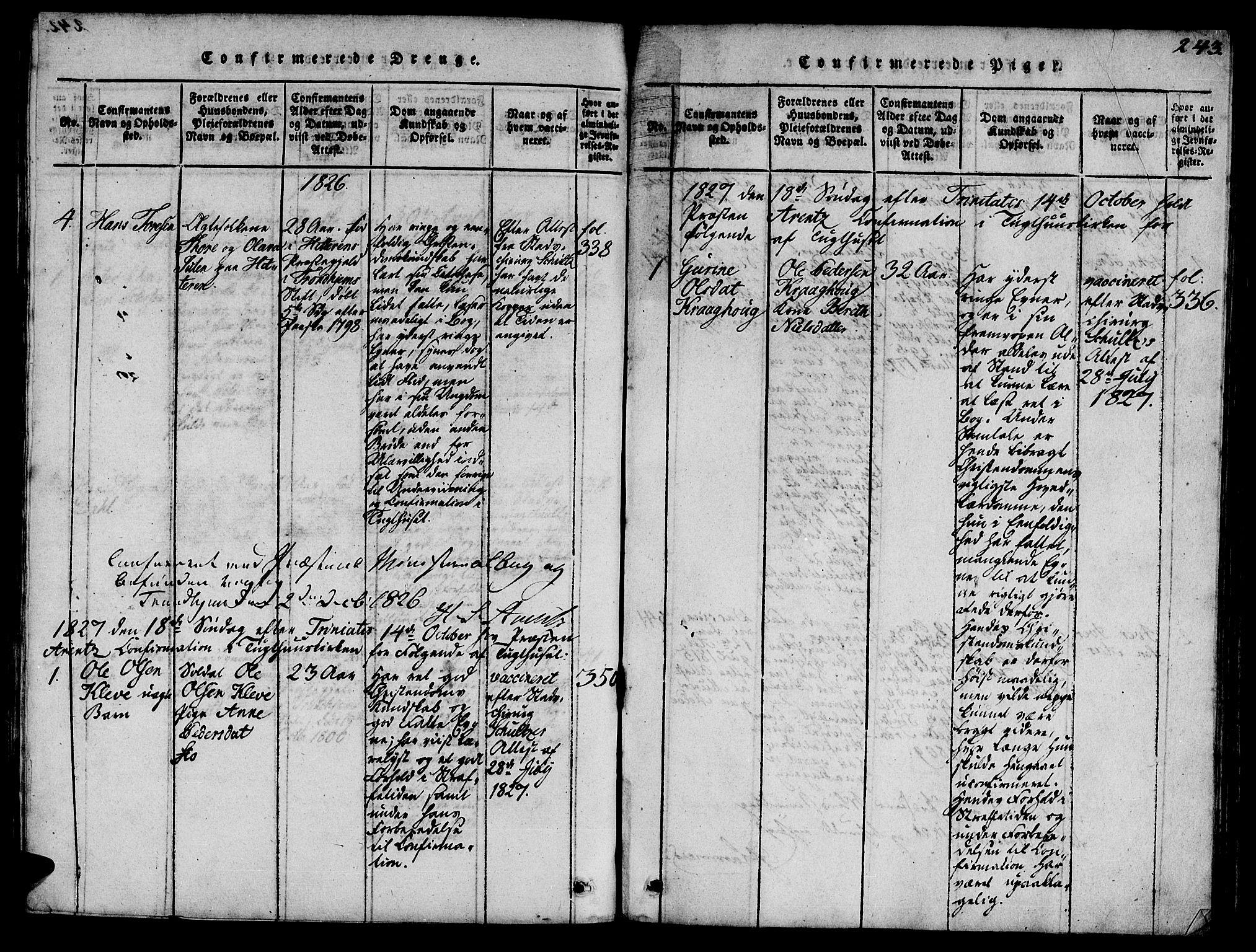 SAT, Ministerialprotokoller, klokkerbøker og fødselsregistre - Sør-Trøndelag, 623/L0478: Klokkerbok nr. 623C01, 1815-1873, s. 243