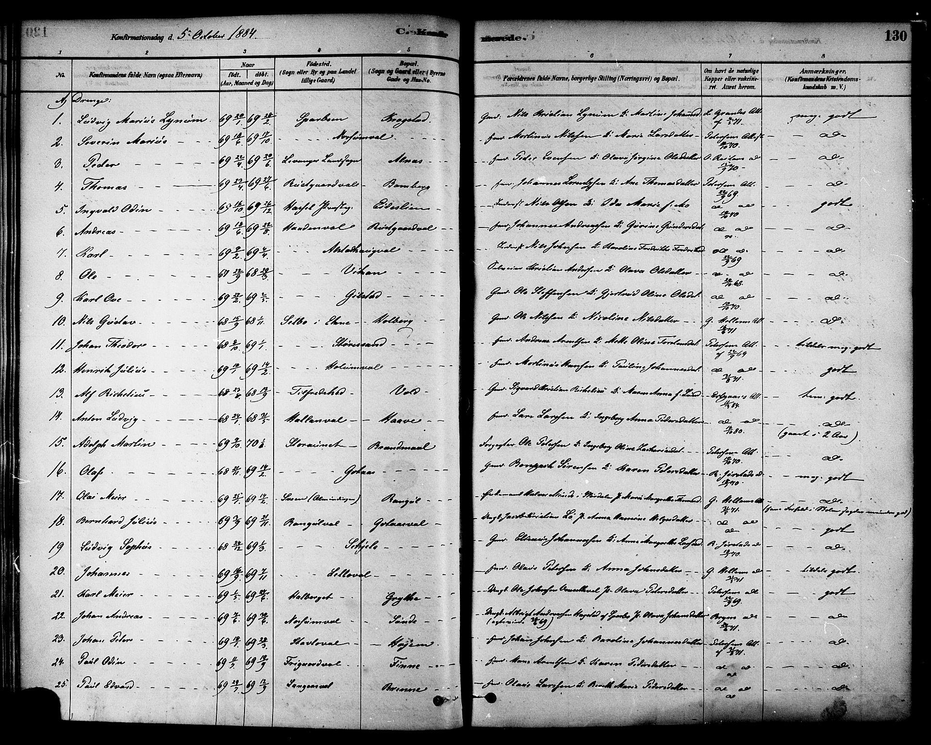 SAT, Ministerialprotokoller, klokkerbøker og fødselsregistre - Nord-Trøndelag, 717/L0159: Ministerialbok nr. 717A09, 1878-1898, s. 130