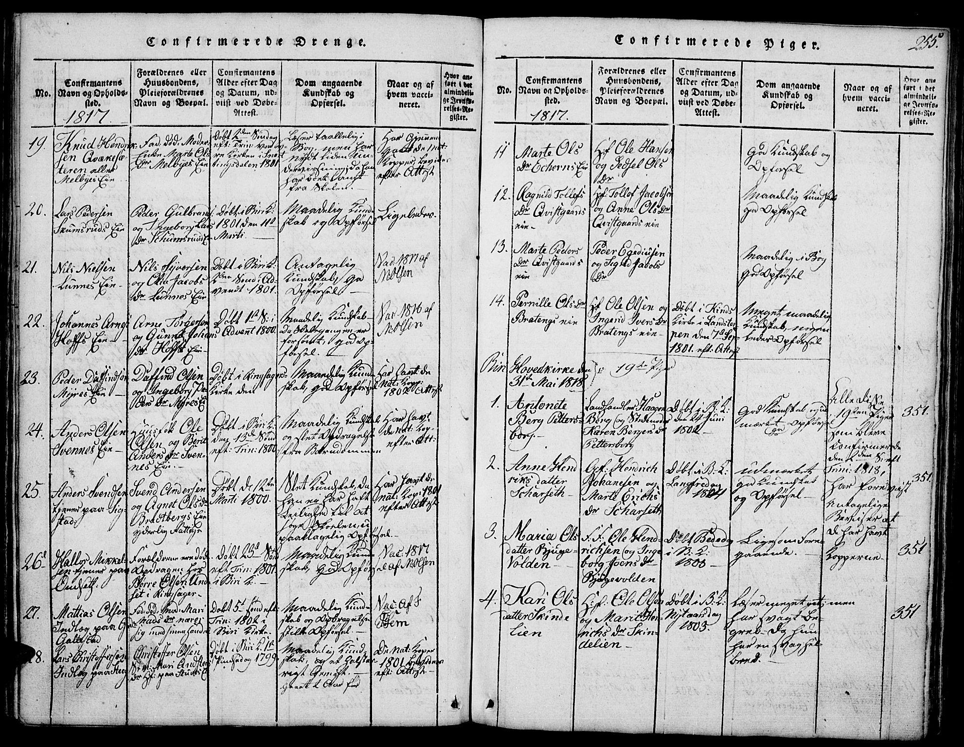 SAH, Biri prestekontor, Klokkerbok nr. 1, 1814-1828, s. 255