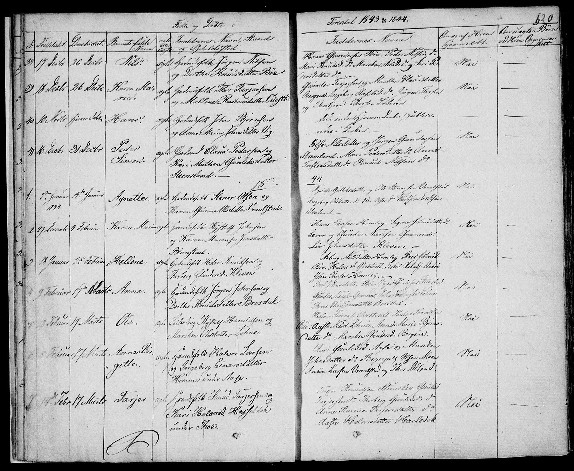 SAKO, Drangedal kirkebøker, F/Fa/L0007b: Ministerialbok nr. 7b, 1837-1856, s. 520